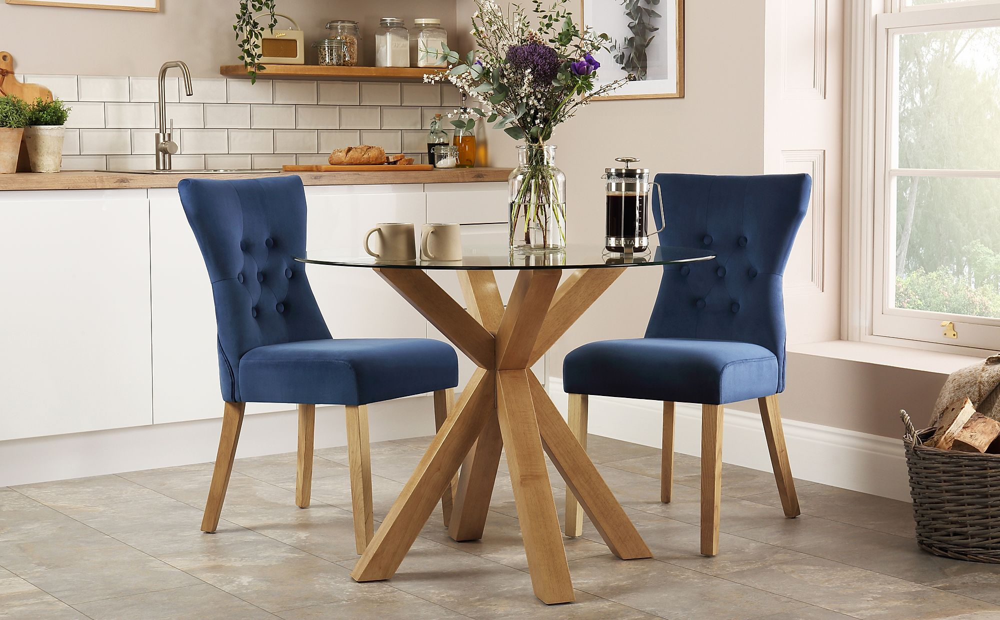 hatton round oak and glass dining table with 2 bewley blue