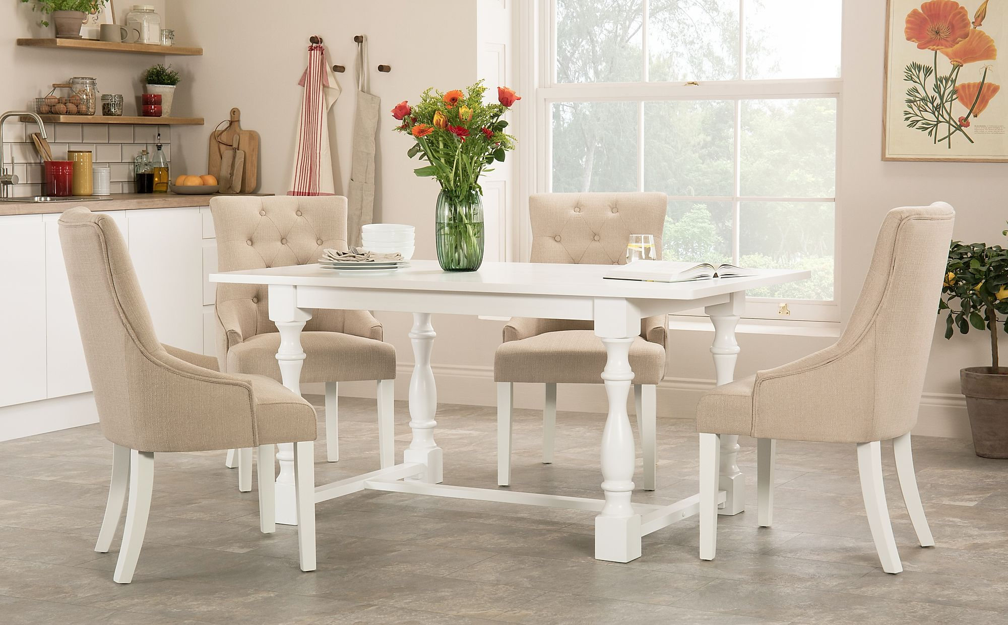 Devonshire White Dining Table with 6 Duke Oatmeal Fabric ...
