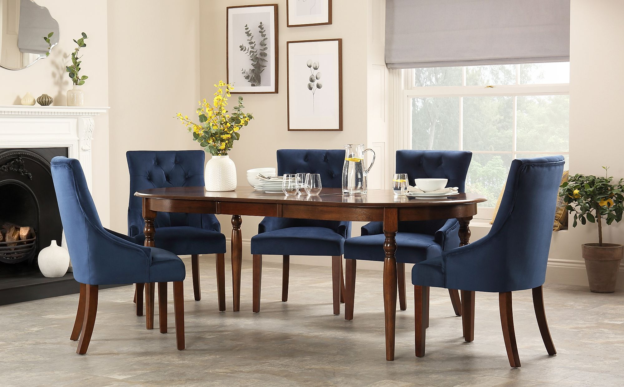 Awe Inspiring Details About Albany Oval Dark Wood Extending Dining Table 4 6 8 Duke Blue Velvet Chairs Onthecornerstone Fun Painted Chair Ideas Images Onthecornerstoneorg