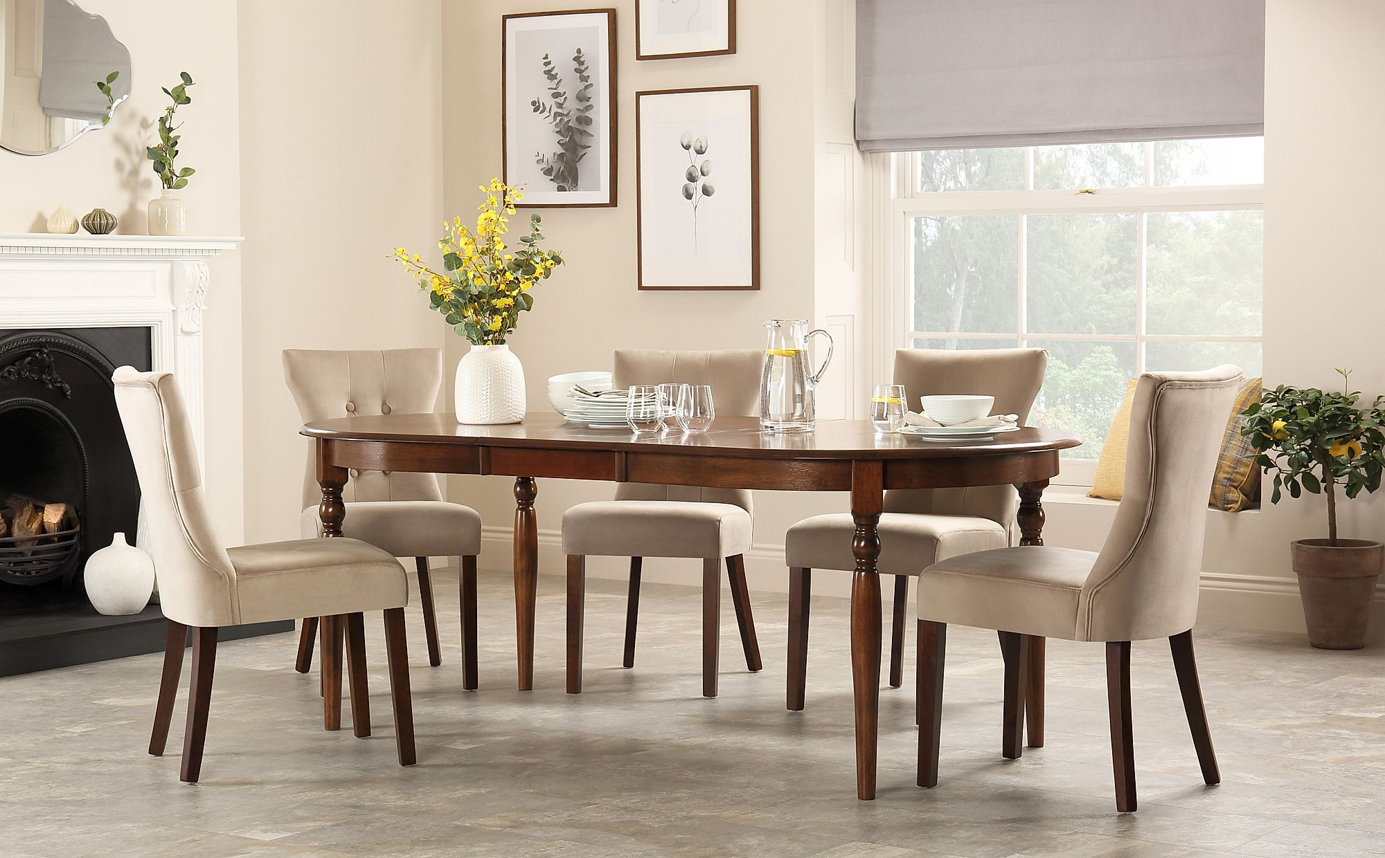 Pleasing Details About Albany Oval Dark Wood Extending Dining Table 4 6 8 Bewley Oatmeal Fabric Chairs Onthecornerstone Fun Painted Chair Ideas Images Onthecornerstoneorg