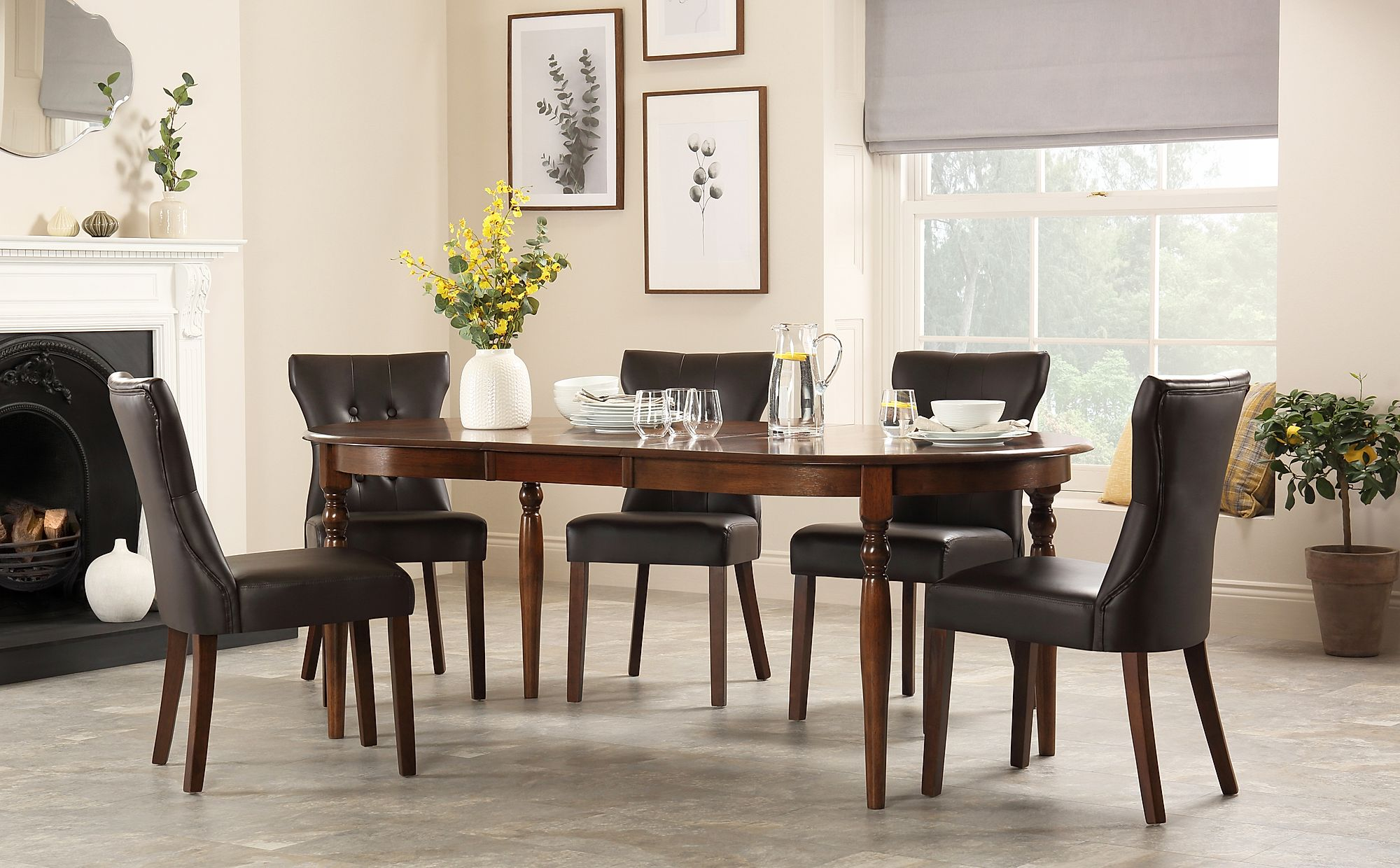 Miraculous Details About Albany Oval Dark Wood Extending Dining Table 4 6 8 Bewley Brown Leather Chairs Onthecornerstone Fun Painted Chair Ideas Images Onthecornerstoneorg