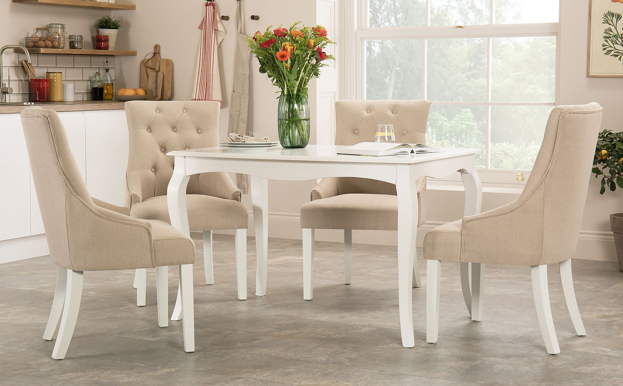 Clarendon White Dining Table with 4 Duke Oatmeal Fabric ...