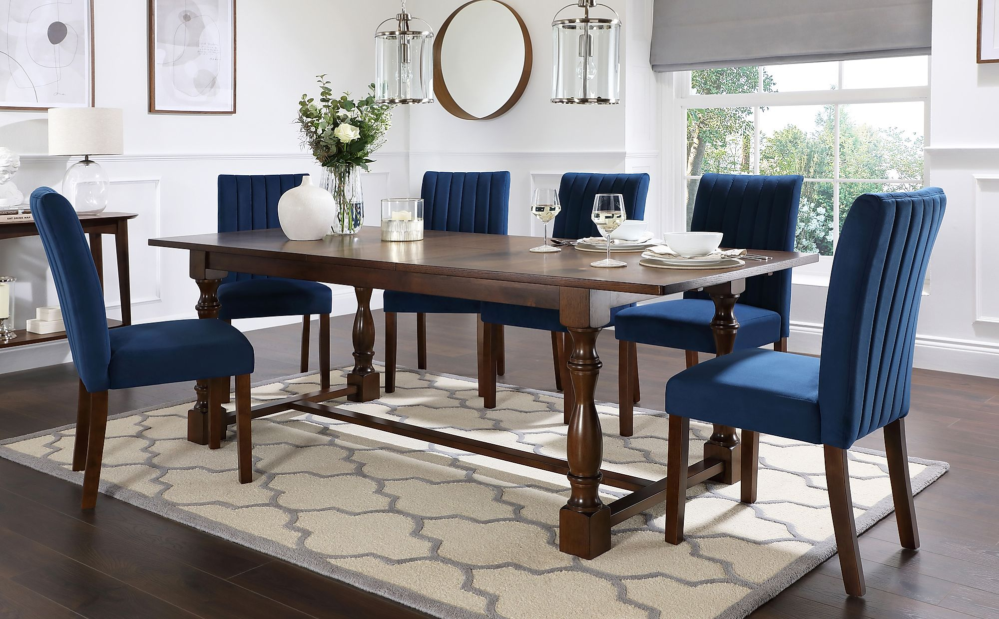 Devonshire Dark Wood Extending Dining Table With 8