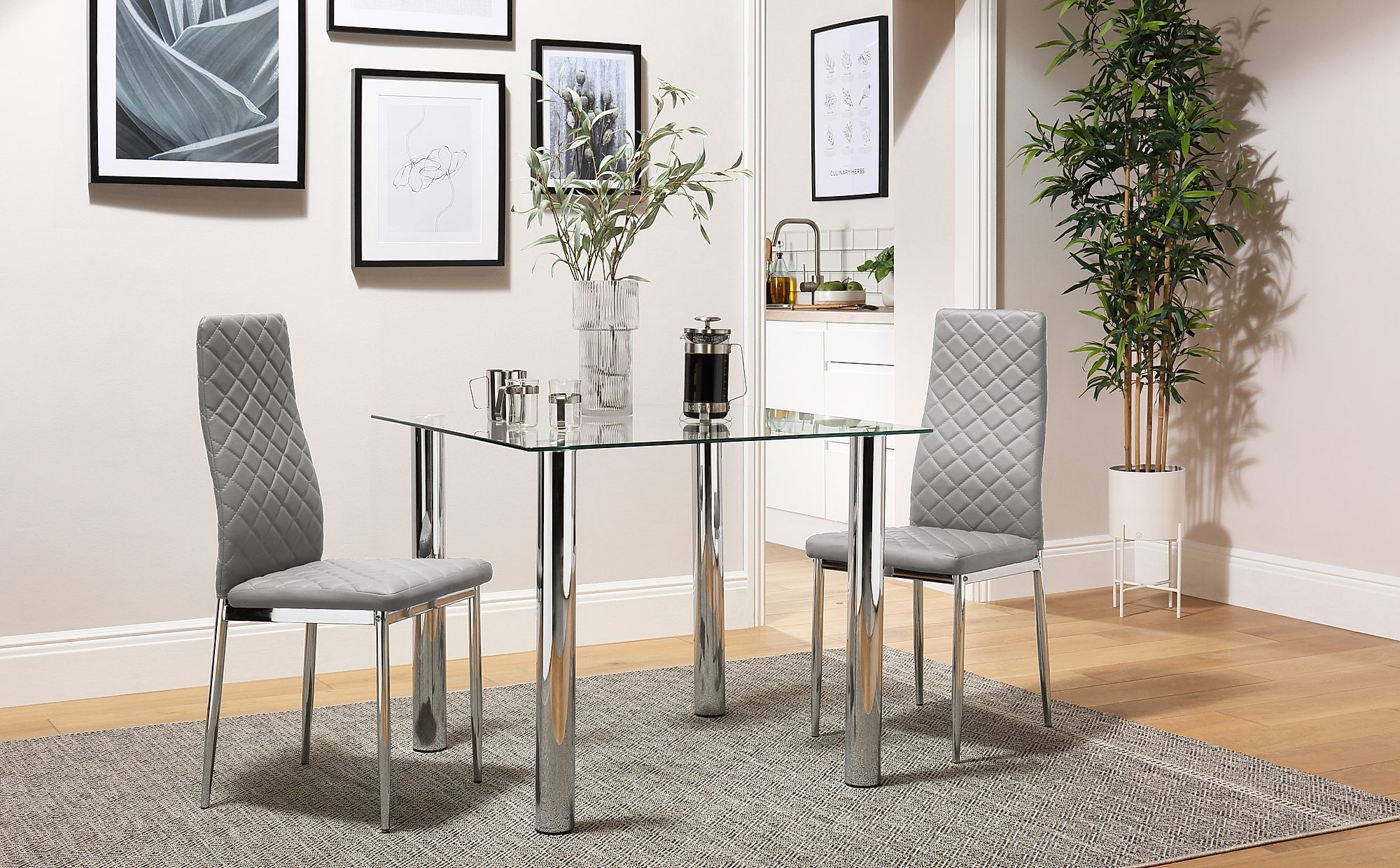 Chrome Legs 2 4 6 8 Renzo Grey Leather Dining Room Chairs