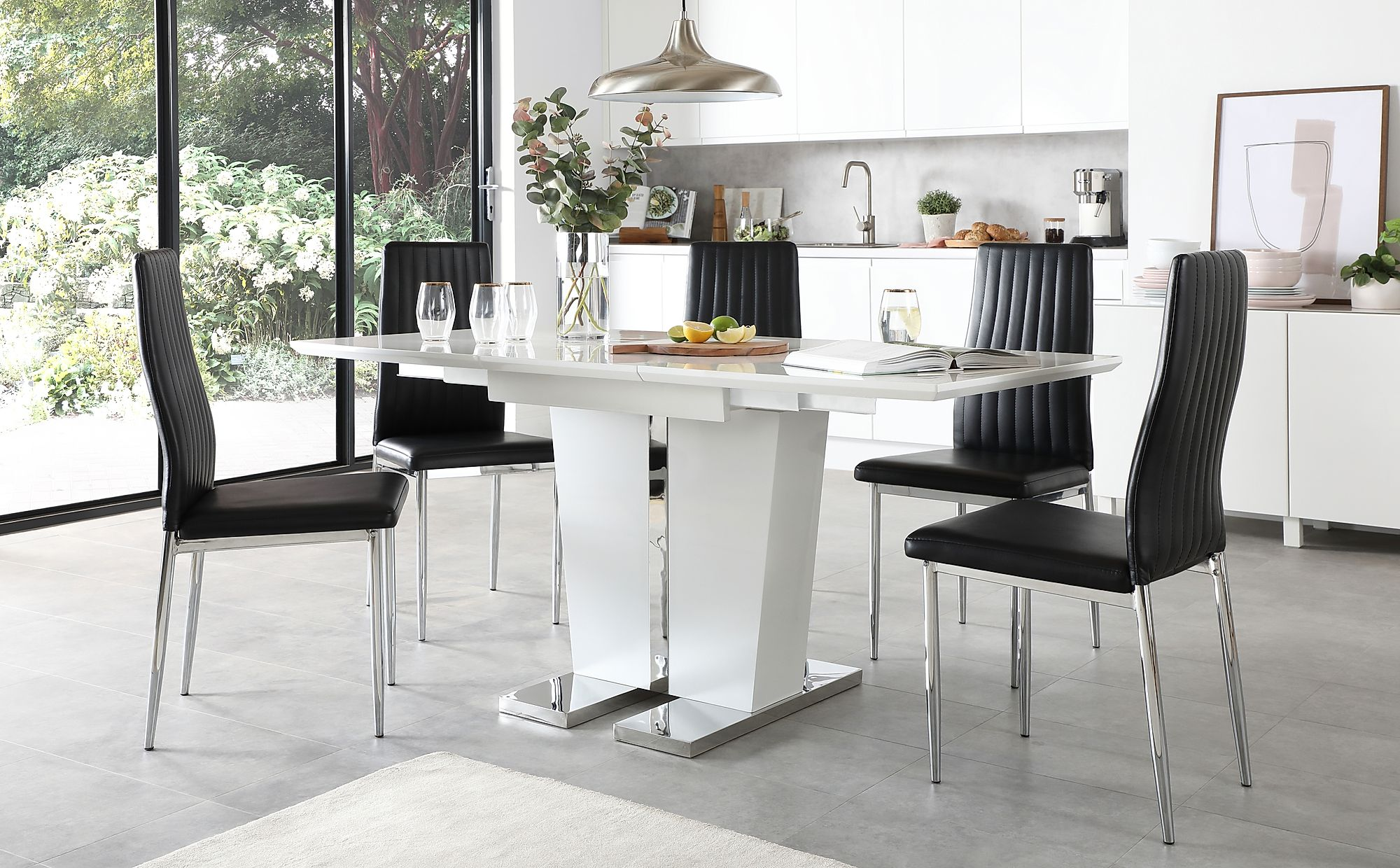 Vienna White High Gloss Extending Dining Table with 4 Leon ...