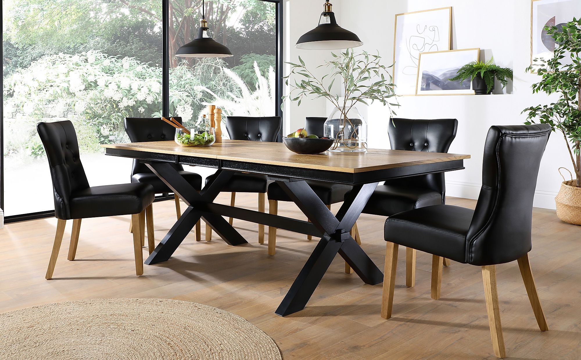 grange painted black and oak extending dining table with 4
