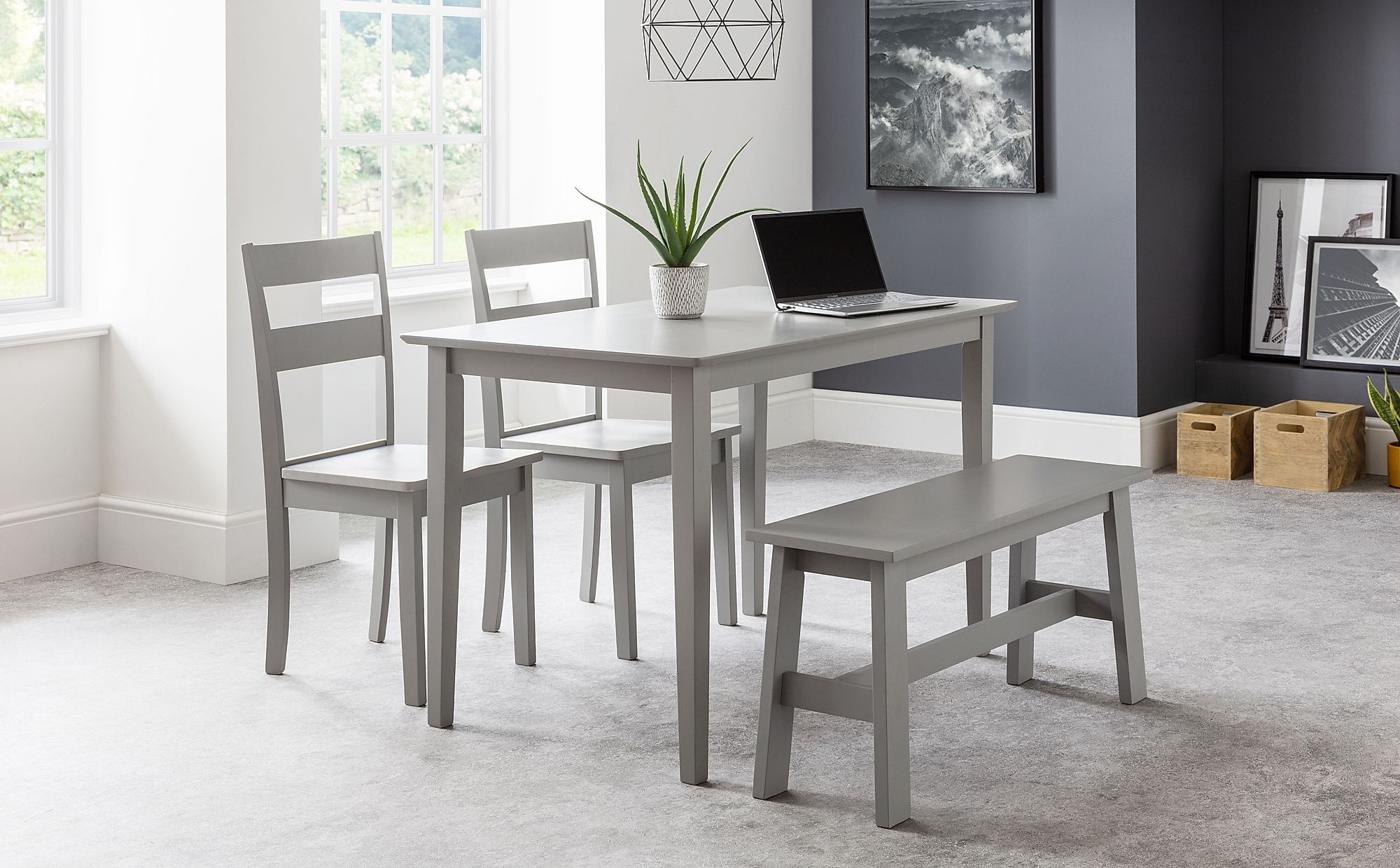 Weston Grey Dining Table & Bench with 10 Weston Chairs
