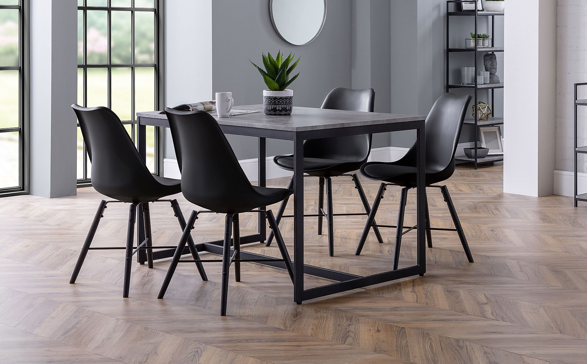 Thorpe Metal and Concrete Industrial Dining Table with 4 ...