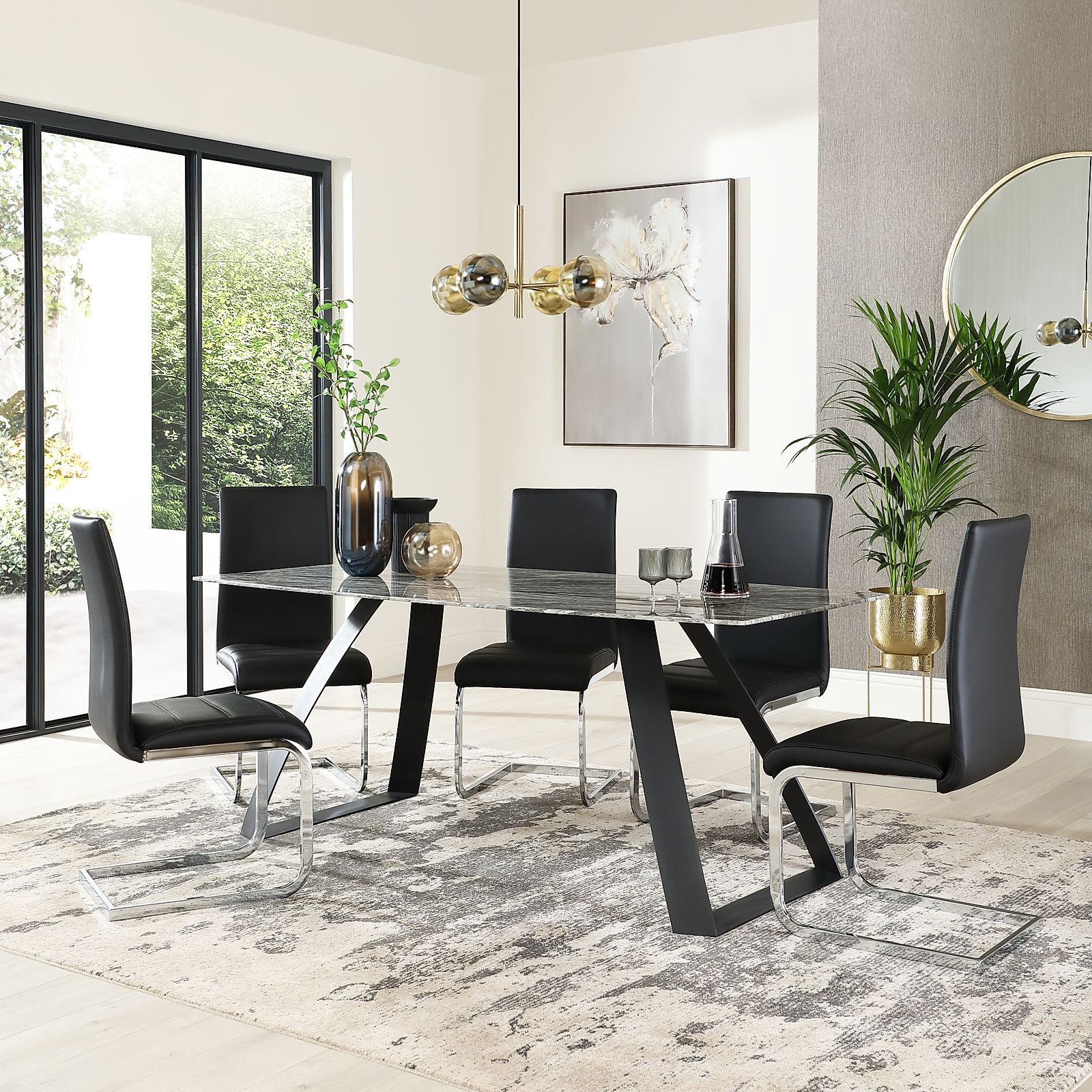Ancona Marble Dining Table With 6 Perth Black Leather