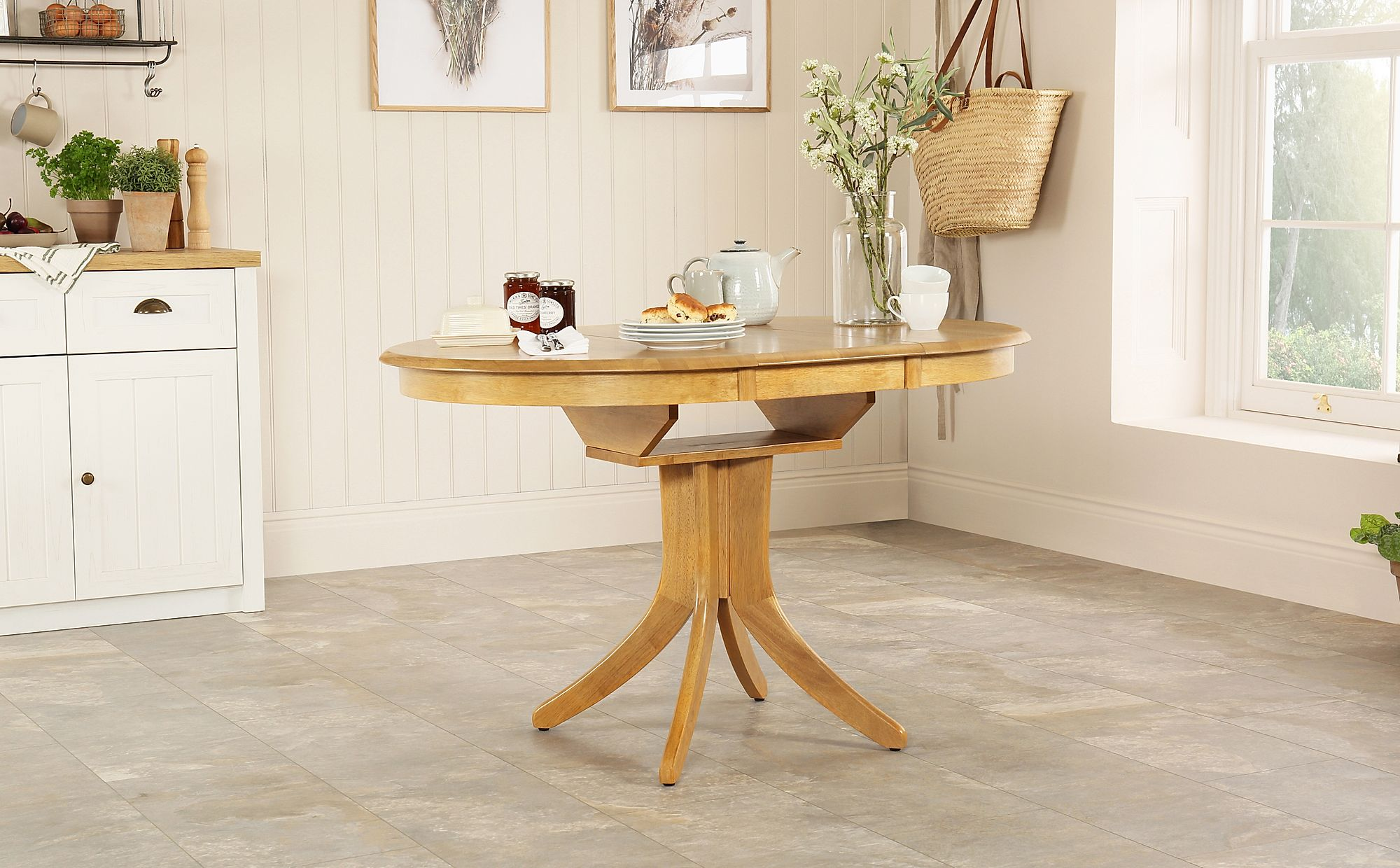 Hudson Round Natural Oak Extending Dining Room Table 90 120 Only