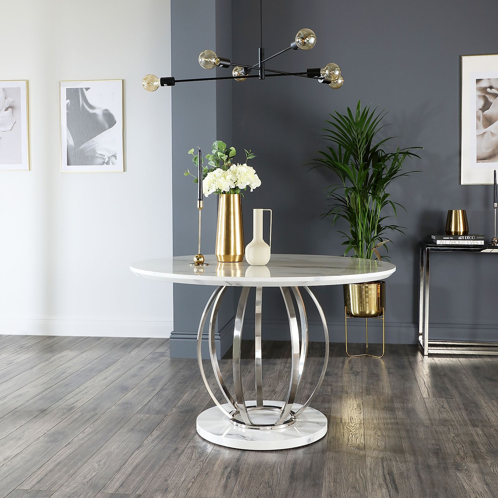 Savoy Round White Marble And Chrome Dining Table