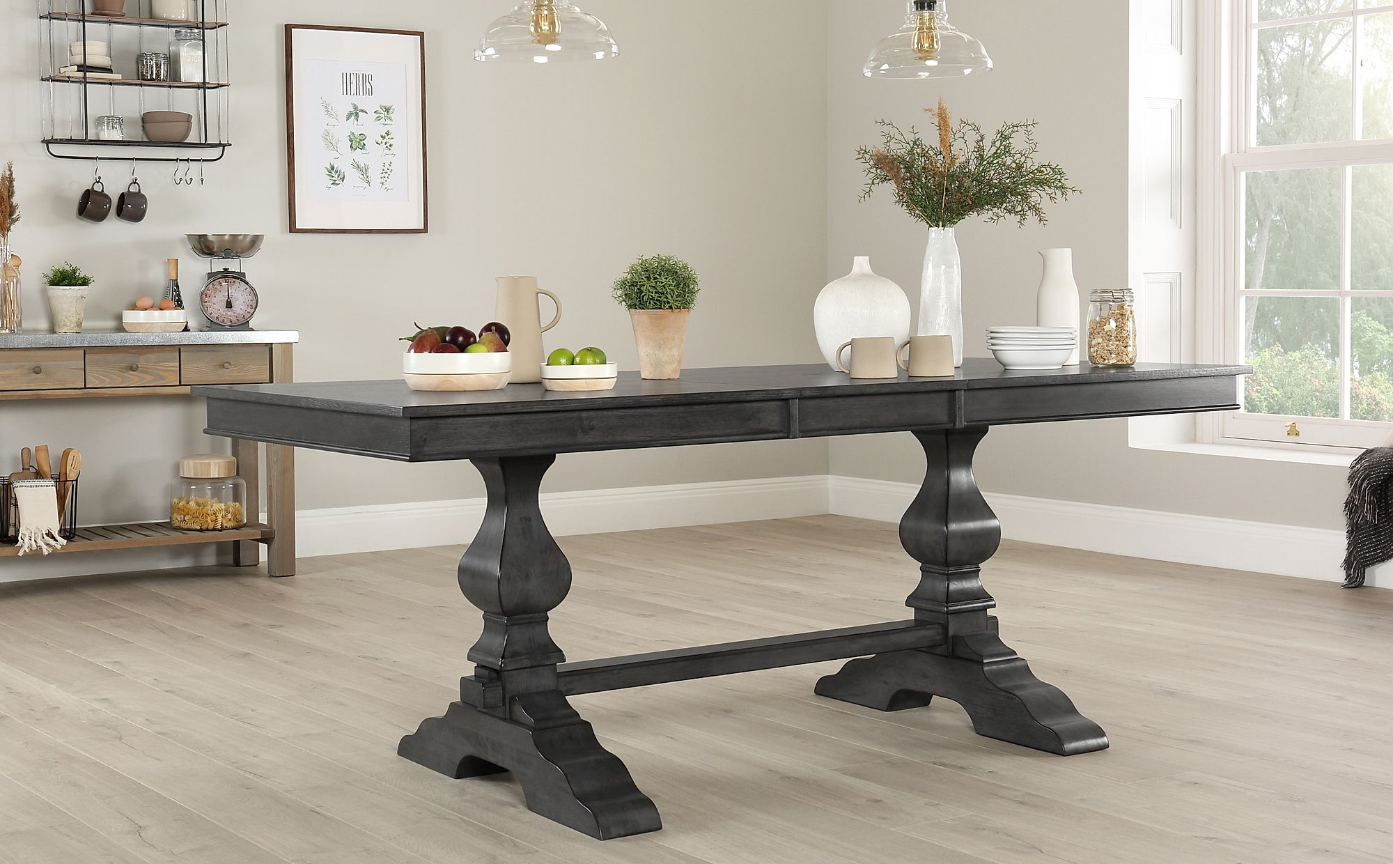 Cavendish Grey Wood 160-200cm Extending Dining Table ...