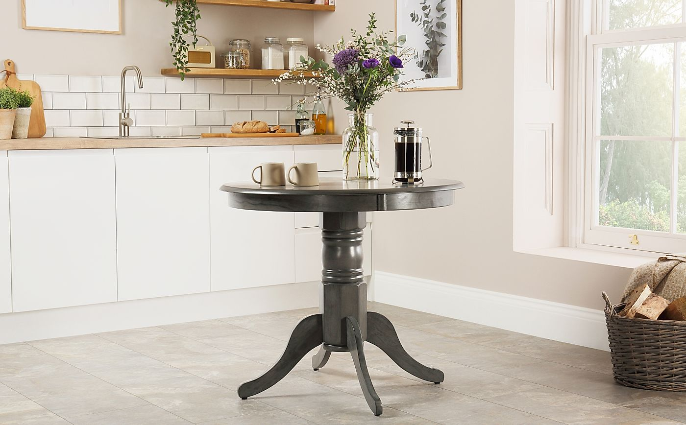 Grey Wood Dining Room Table: Kingston Round Grey Wood Dining Table 90cm Only £149.99