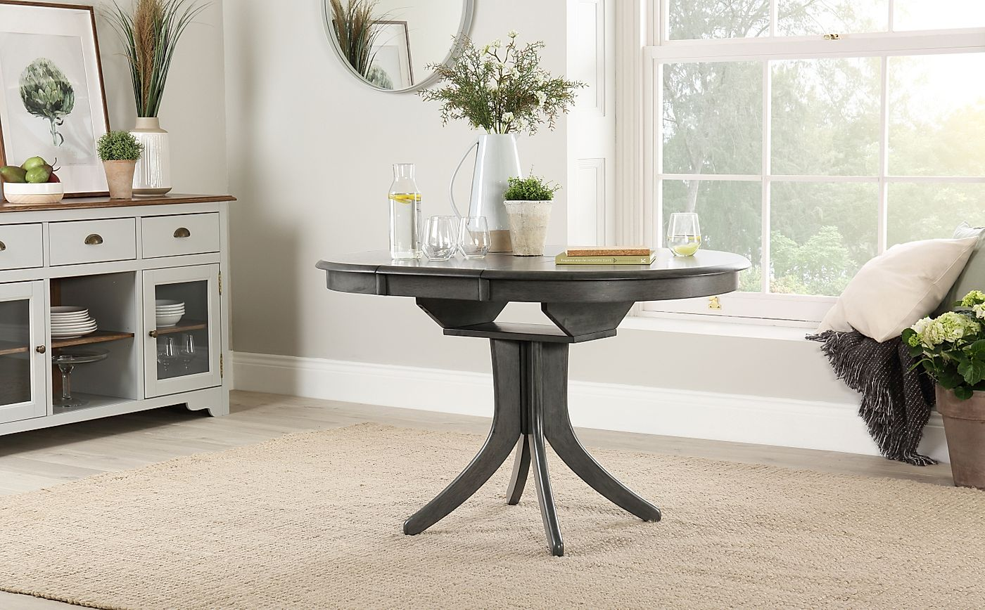 Grey Wood Dining Room Table: Hudson Round Grey Wood Extending Dining Table 90
