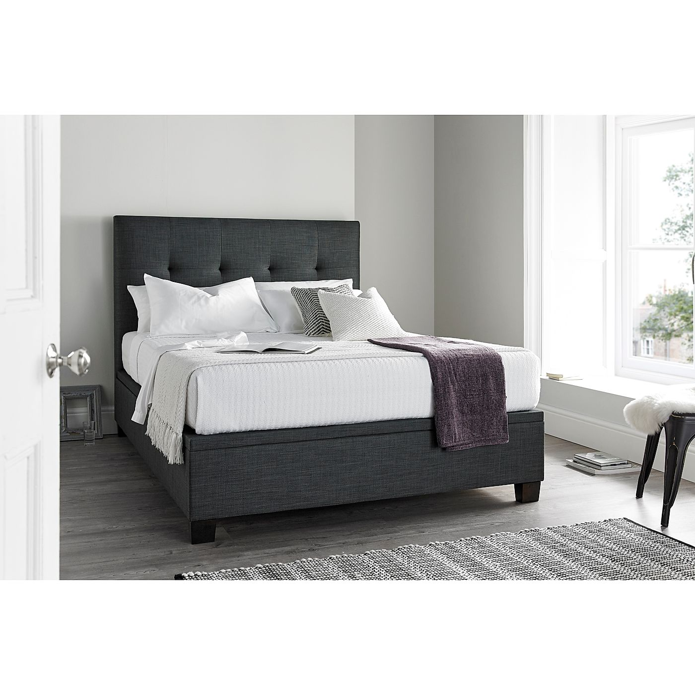 Marvelous Kaydian Walkworth Slate Fabric Ottoman Storage Bed King Size Pabps2019 Chair Design Images Pabps2019Com