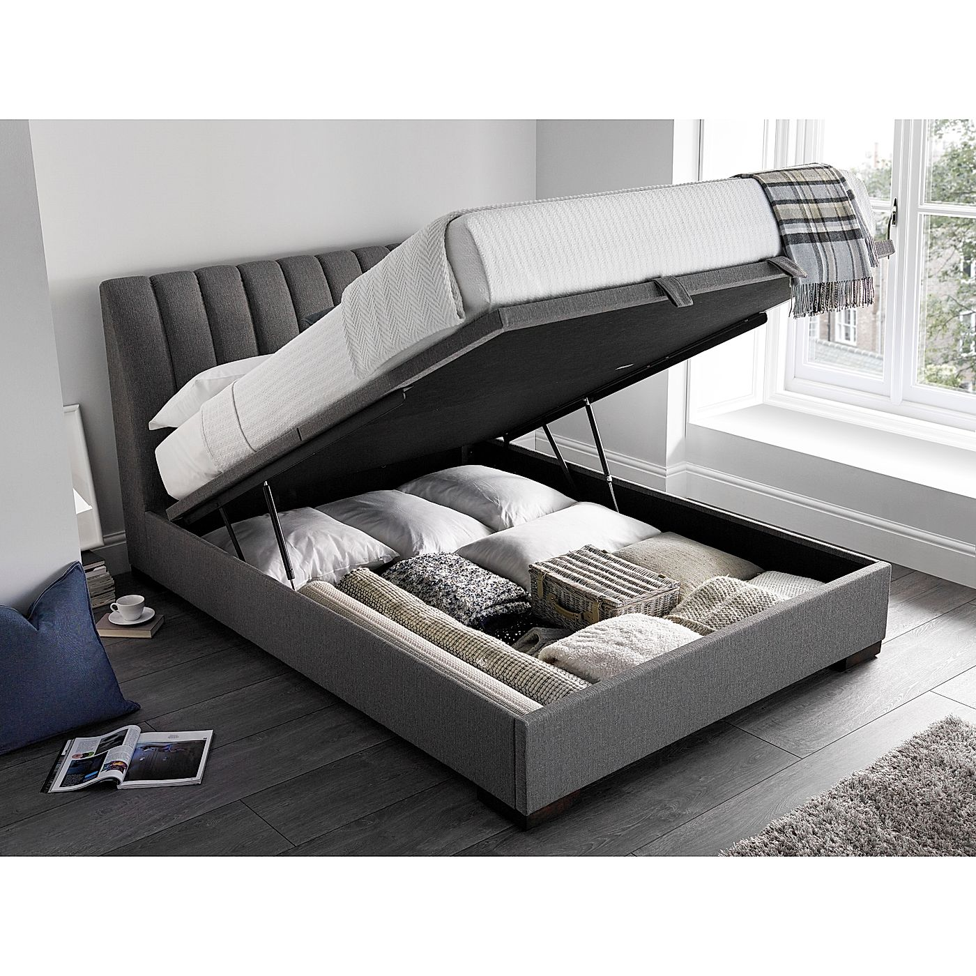 6836932a1423 keyboard_arrow_left; keyboard_arrow_right. Kaydian Lanchester Ottoman  Storage Bed - Double - Grey; Kaydian Lanchester ...