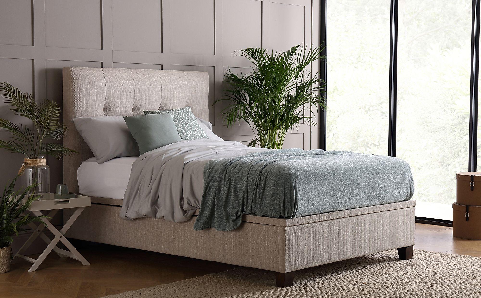 Fabulous Kaydian Walkworth Linen Fabric Ottoman Storage Bed Double Ibusinesslaw Wood Chair Design Ideas Ibusinesslaworg