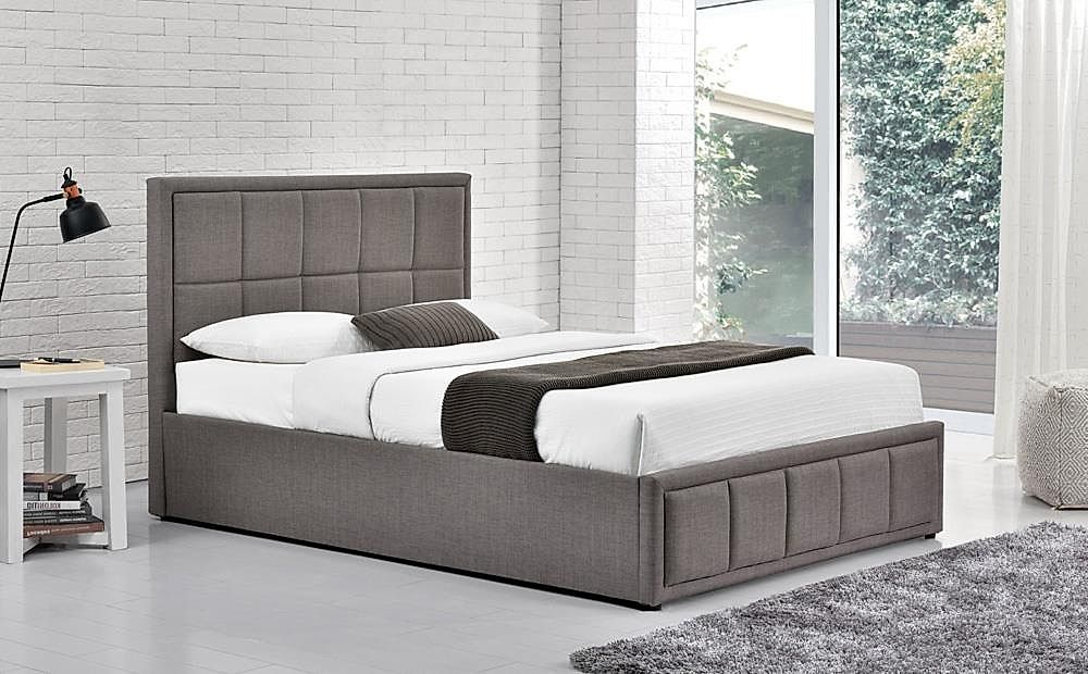 Hannover Grey Fabric Small Double Ottoman Bed Furniture