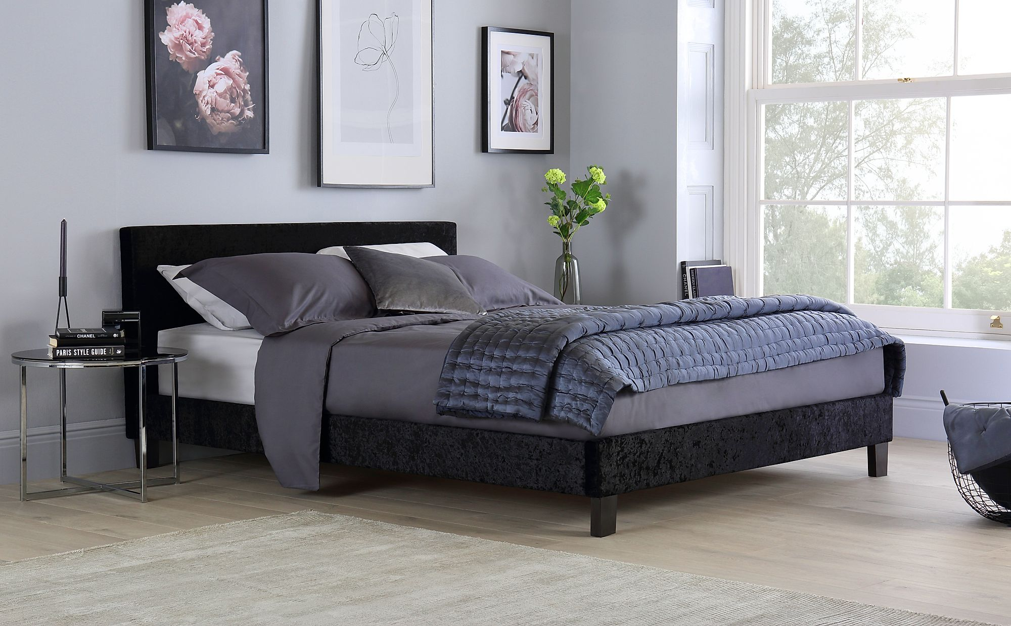 Berlin Black Crushed Velvet Small Double Bed Only £139.99 ...