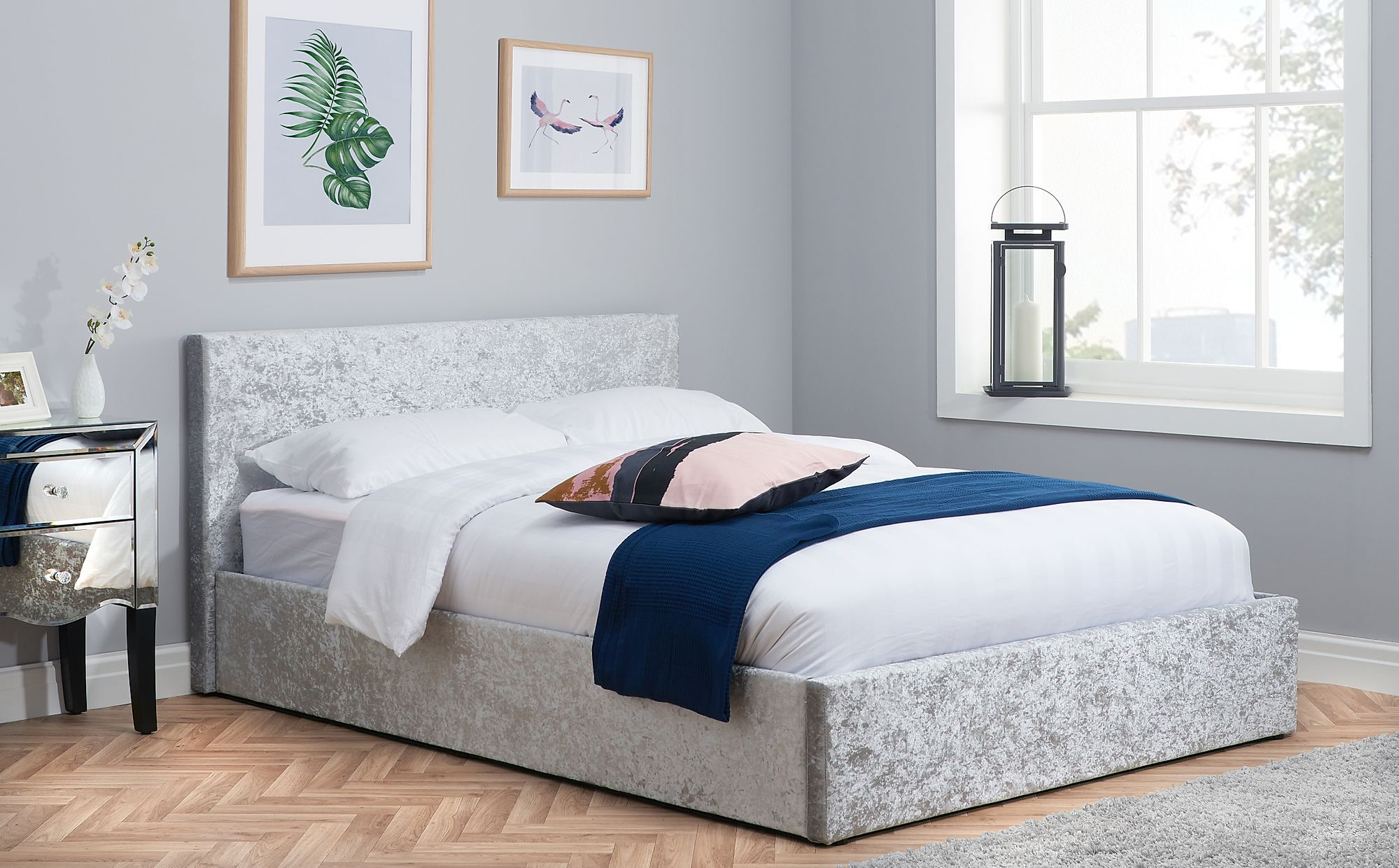 Berlin Silver Crushed Velvet Ottoman Small Double Bed