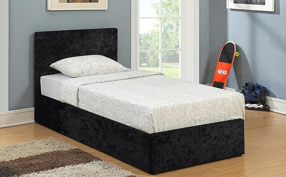 online store 3e68a df4f6 Berlin Black Crushed Velvet Ottoman Bed - Single