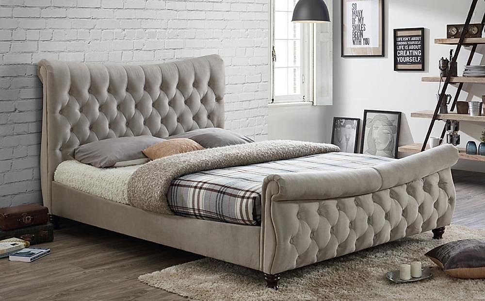 King Size Bed.Copenhagen Warm Stone Fabric Bed Super King Size