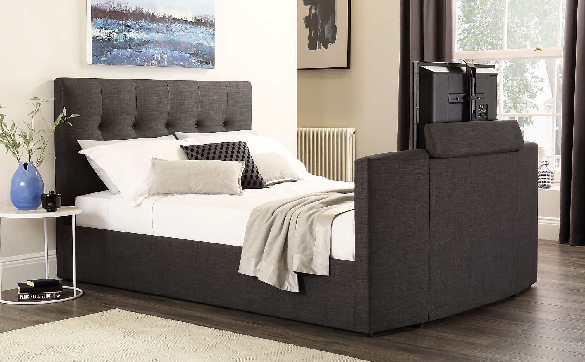 Langham Grey Fabric Tv Bed Double Furniture Choice