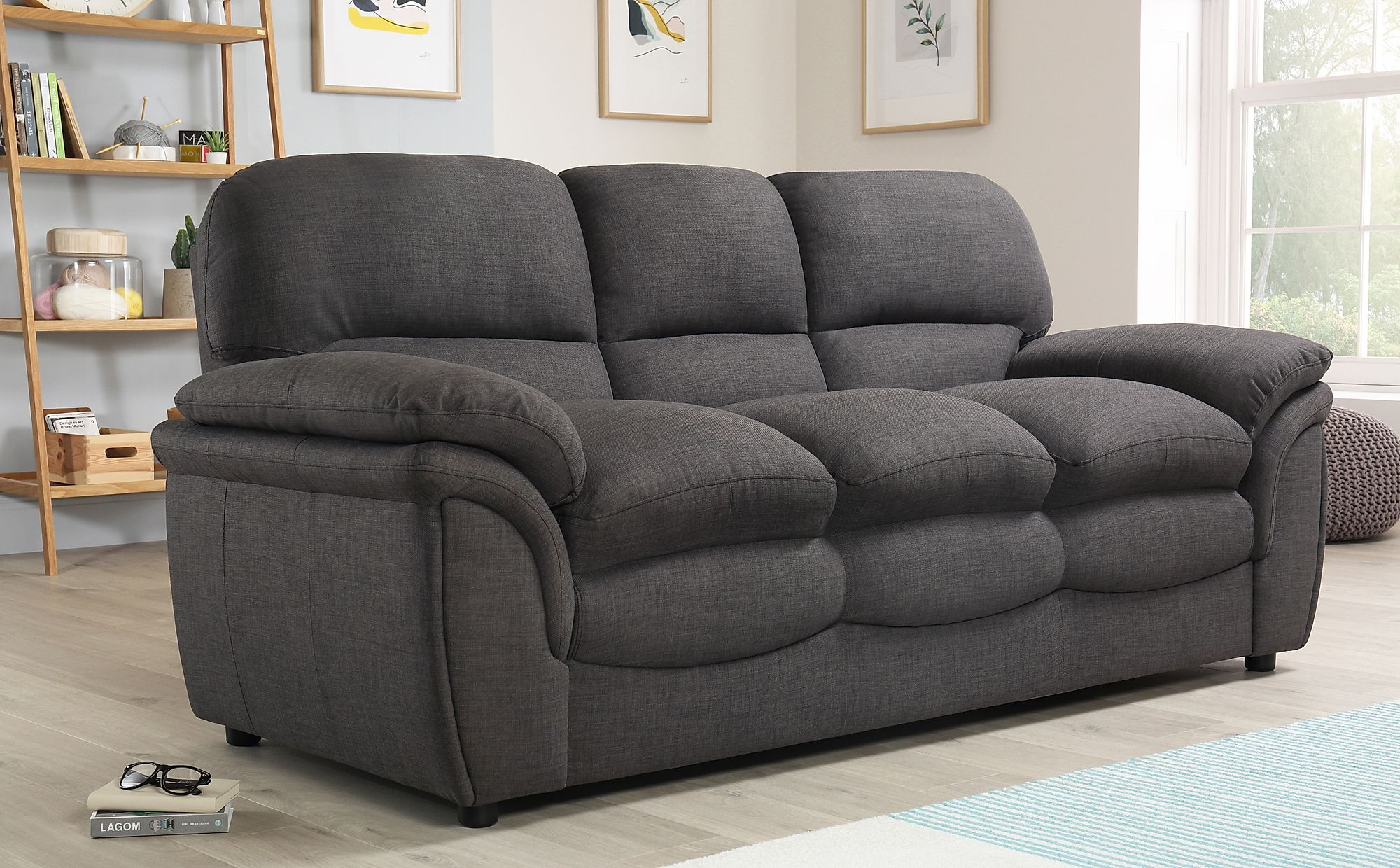 Rochester Fabric 3 Seater Sofa Slate Grey Only