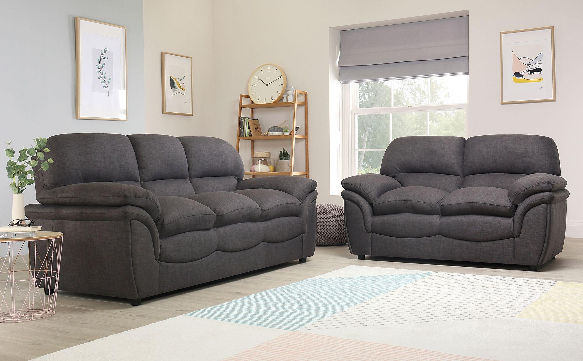Rochester Slate Grey Fabric 3+2 Seater Sofa Set ...