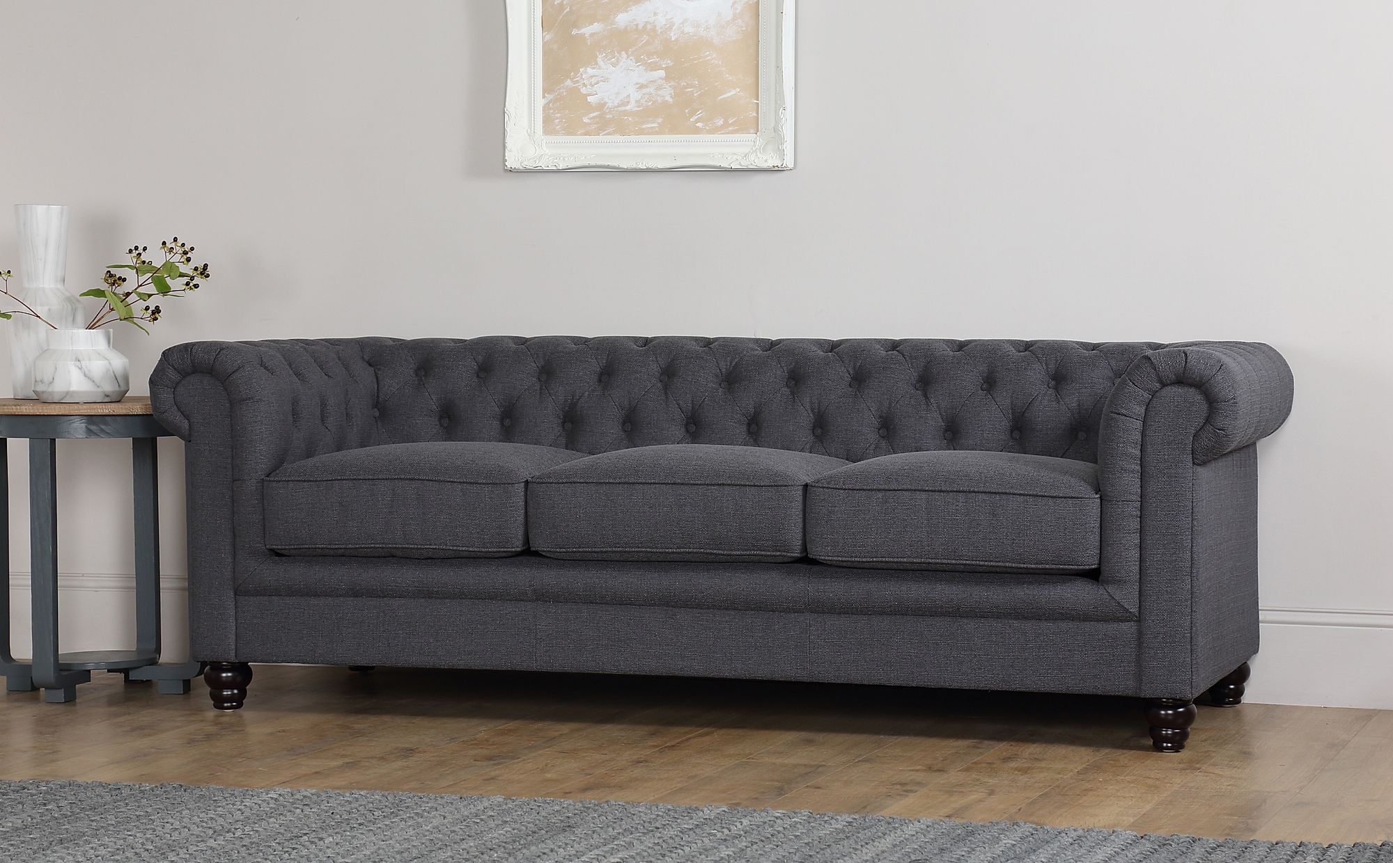 Hampton Slate Grey Fabric 3 Seater Chesterfield Sofa
