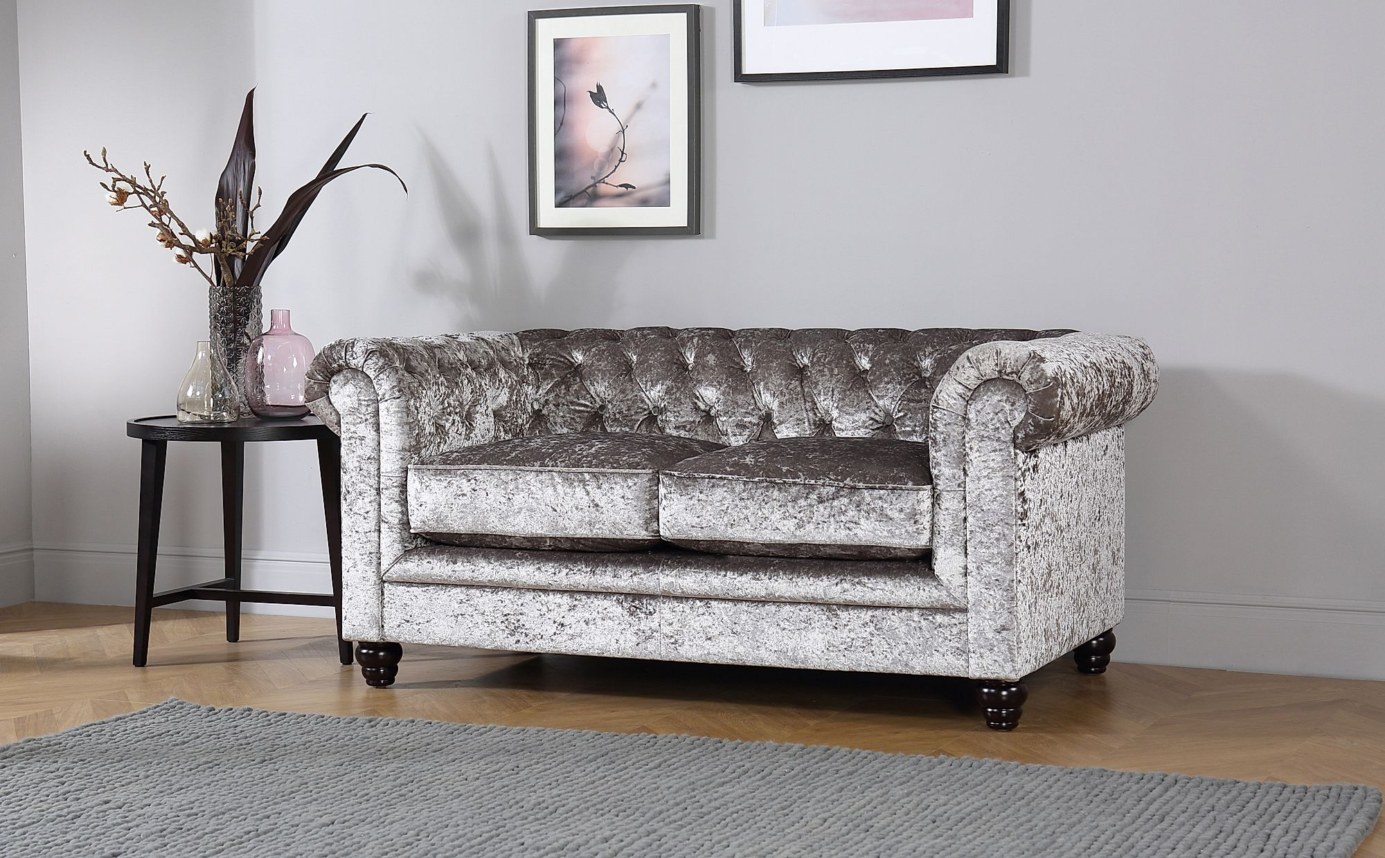 Hampton Silver Crushed Velvet Chesterfield Sofa 3 Seater Only