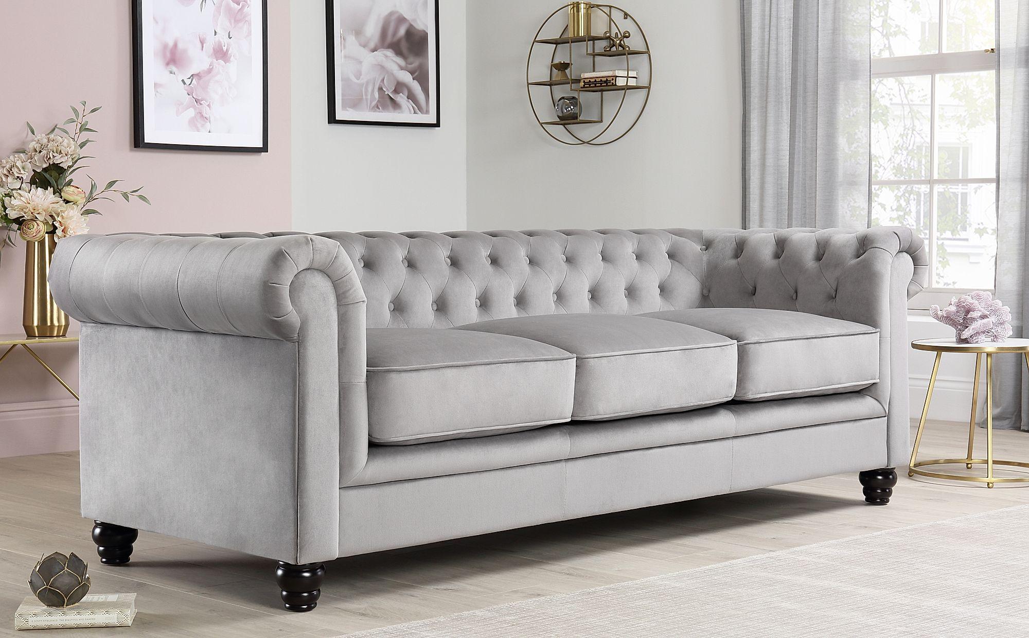 Hampton Grey Velvet 3+2 Seater Chesterfield Sofa Set