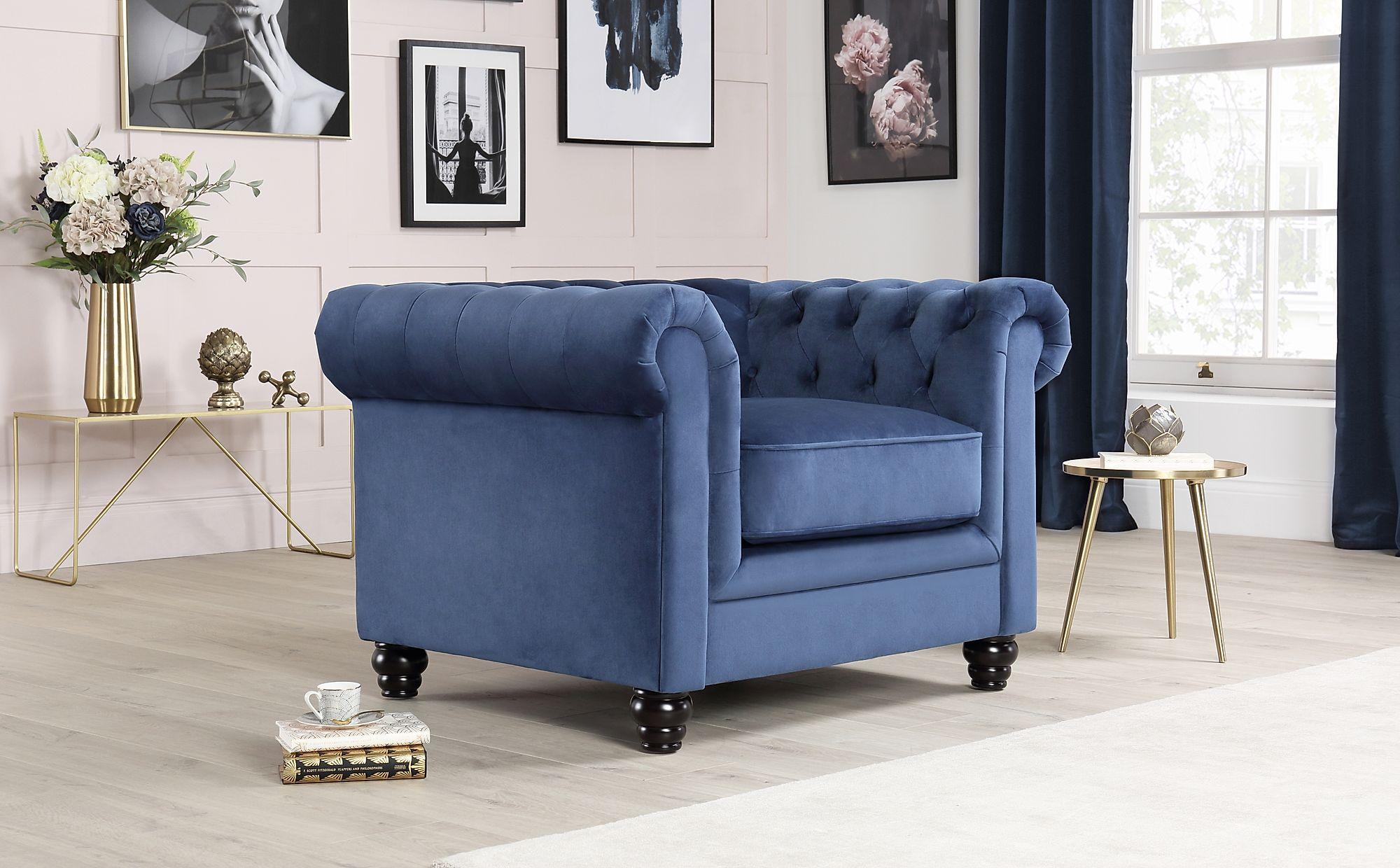 Hampton Blue Velvet Fabric Chesterfield Armchair Only £449 ...