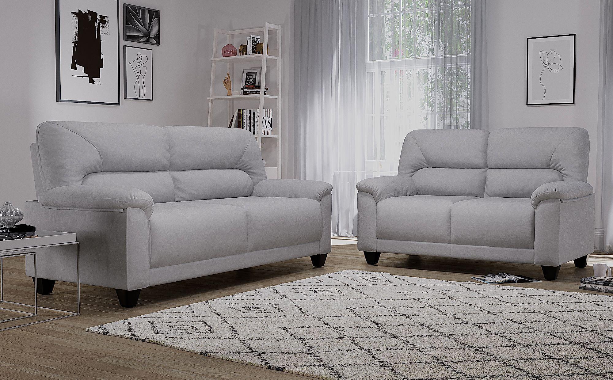 6aa8896f15 Austin Small Dove Grey Plush Fabric Sofa 3+2 Seater Only £549.98 ...