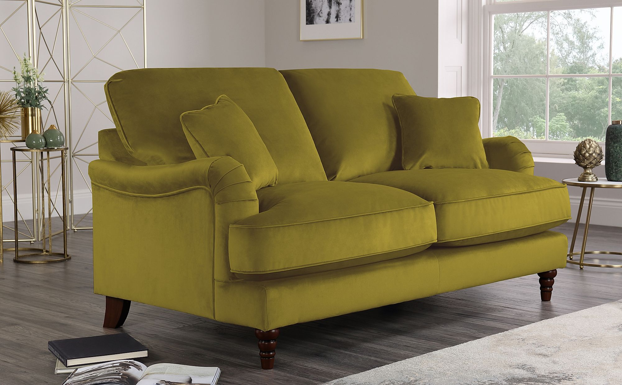 Charleston Olive Green Velvet Sofa 2 Seater Only £649.99