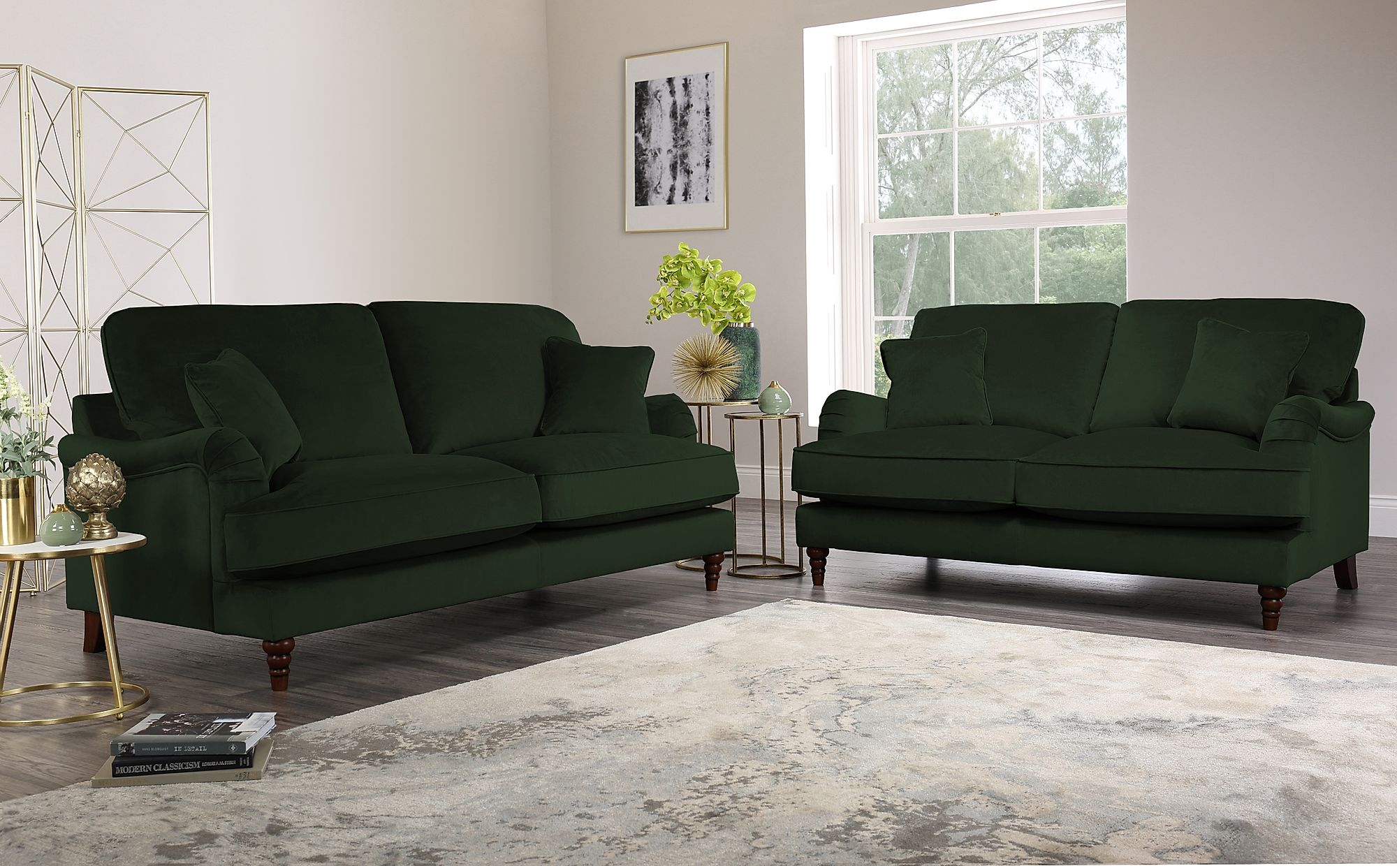 Charleston Emerald Green Velvet Sofa 3+2 Seater Only £1299.98