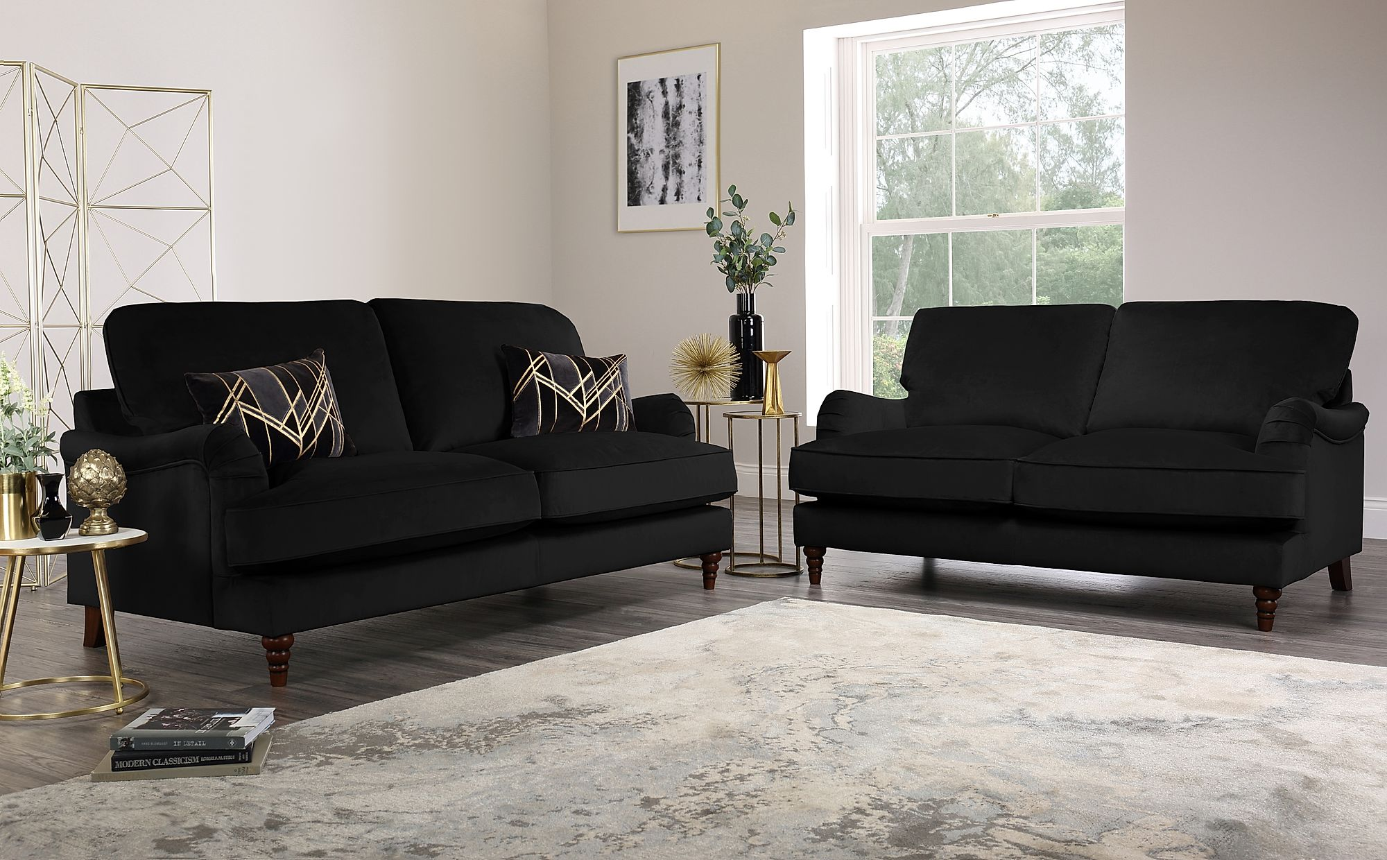 Charleston Black Velvet Sofa 3+2 Seater Only £1299.98
