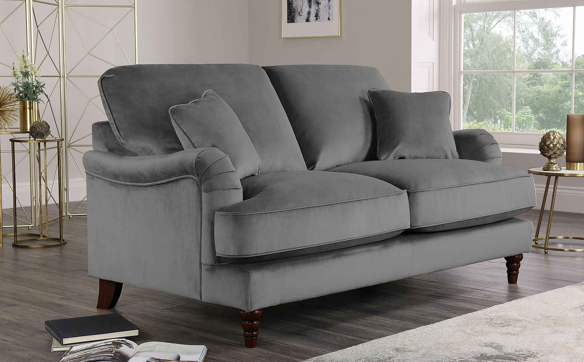 Charleston Grey Velvet Sofa 2 Seater Only £649.99 | Furniture Choice