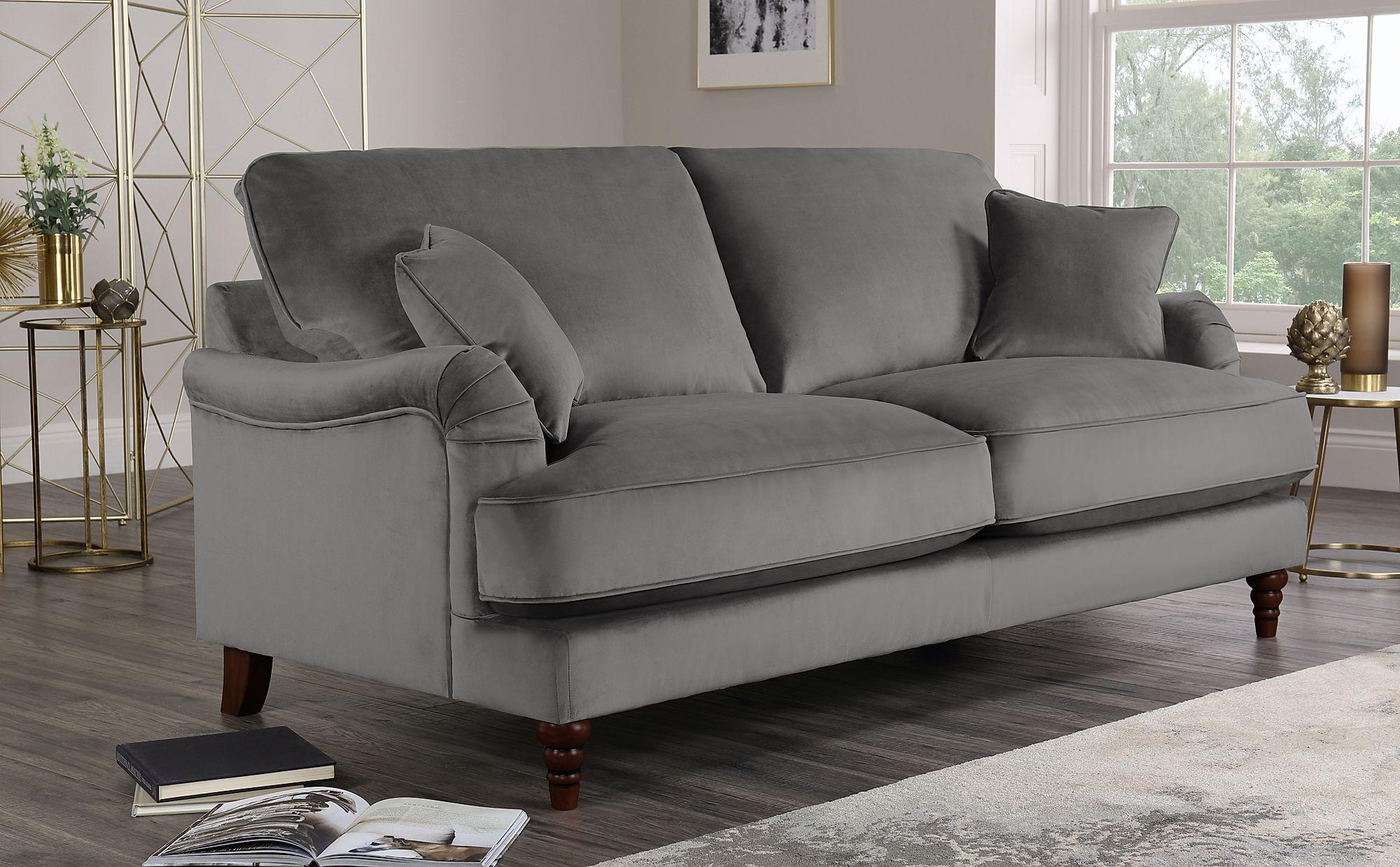 Charleston Grey Velvet Sofa 3 Seater Only 163 749 99