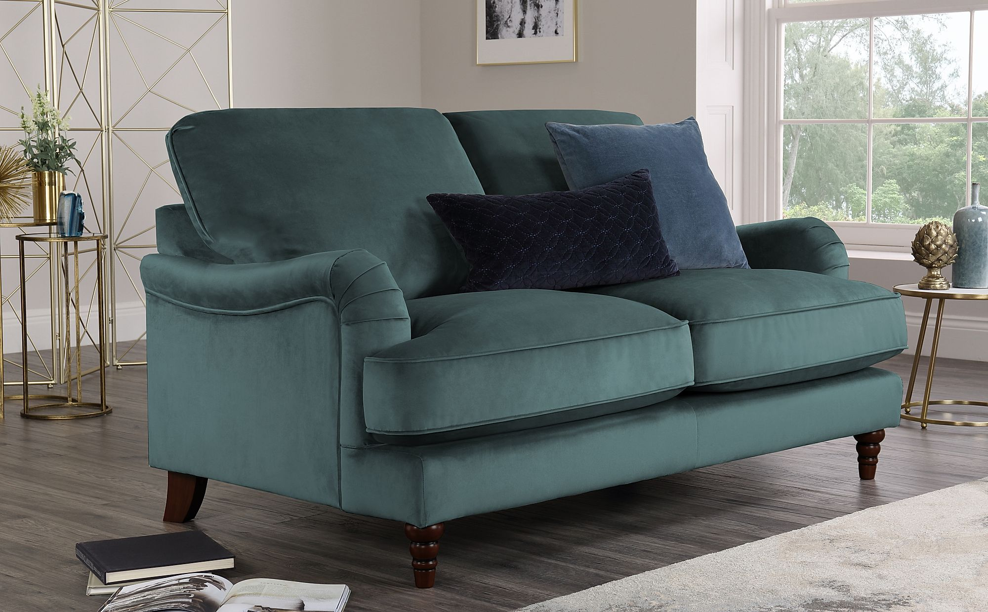 Charleston Blue Velvet Sofa 2 Seater Only £649.99