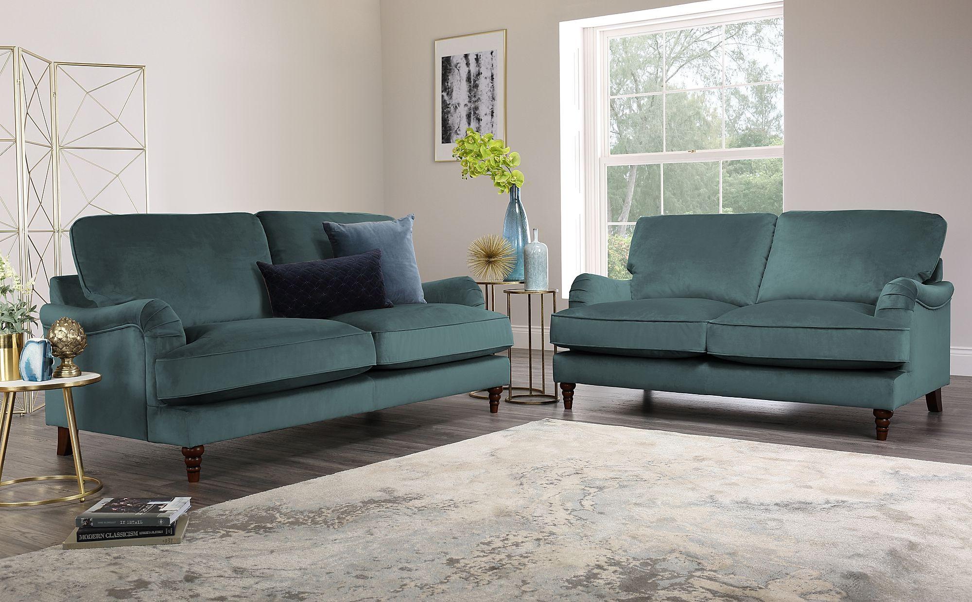 Charleston Blue Velvet Sofa 3+2 Seater Only £1299.98