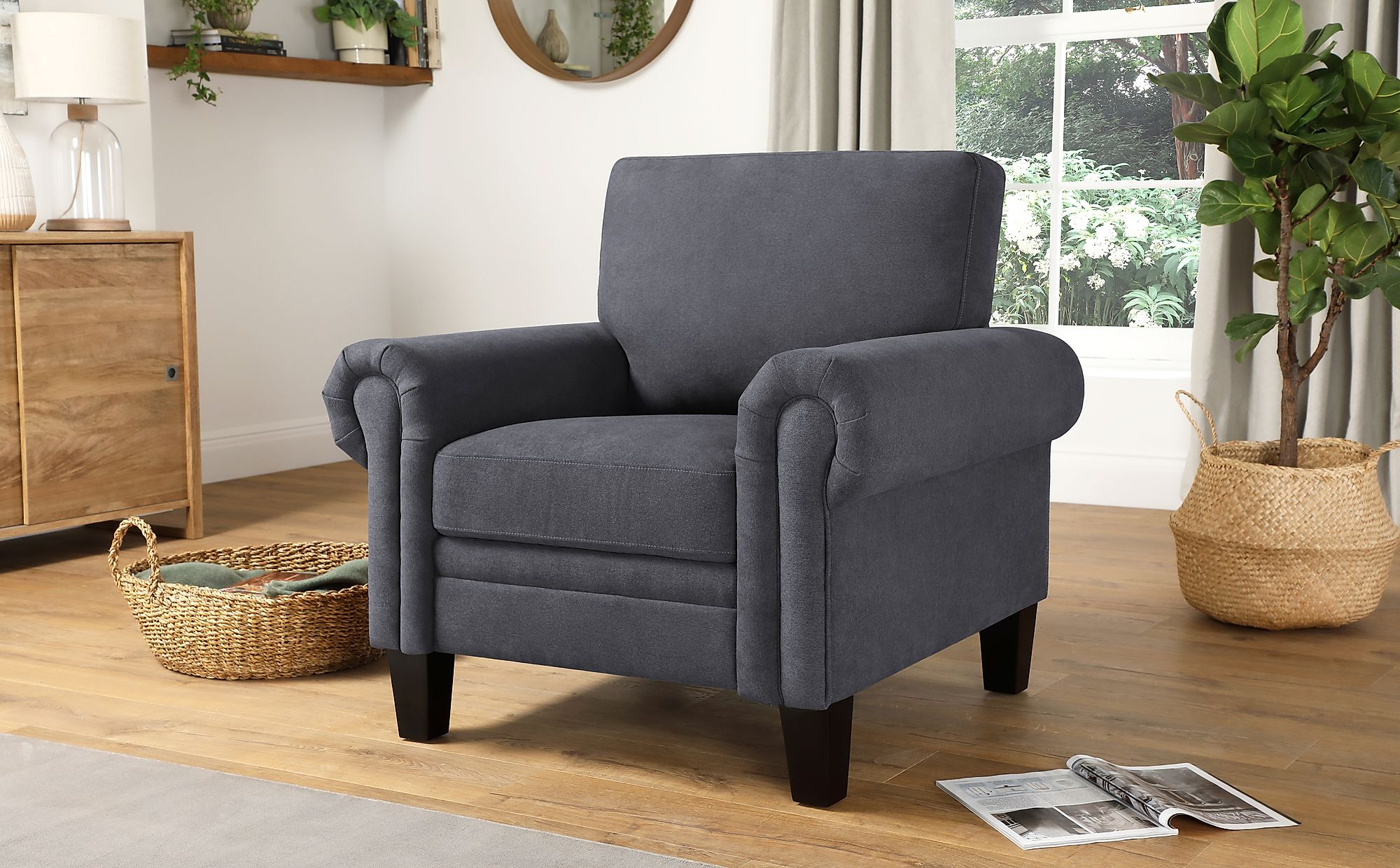 Oakley Slate Grey Plush Fabric Armchair | Furniture Choice