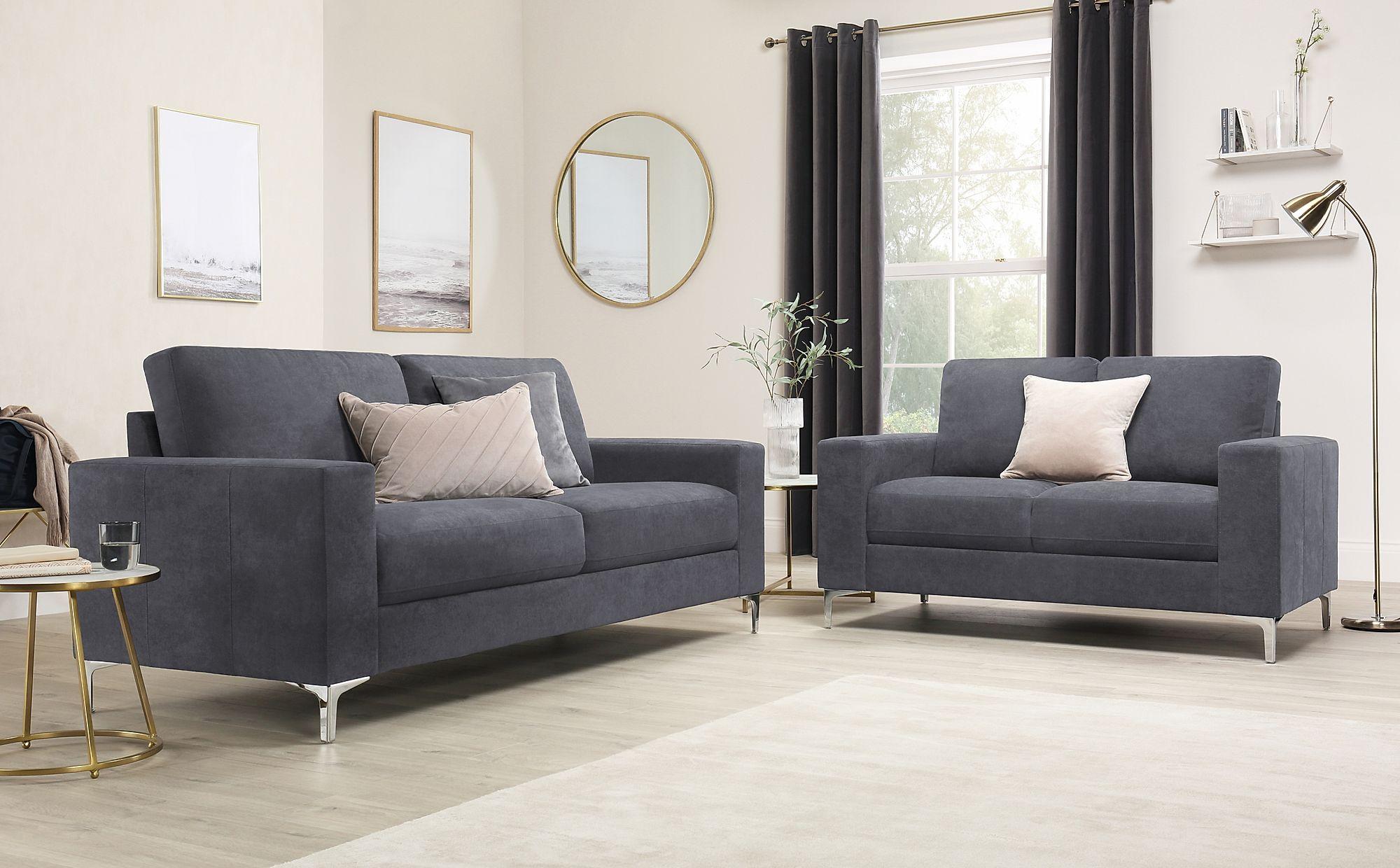 a3f06e81f7 Baltimore Slate Grey Plush Fabric Sofa 3+2 Seater Only £699.98 ...