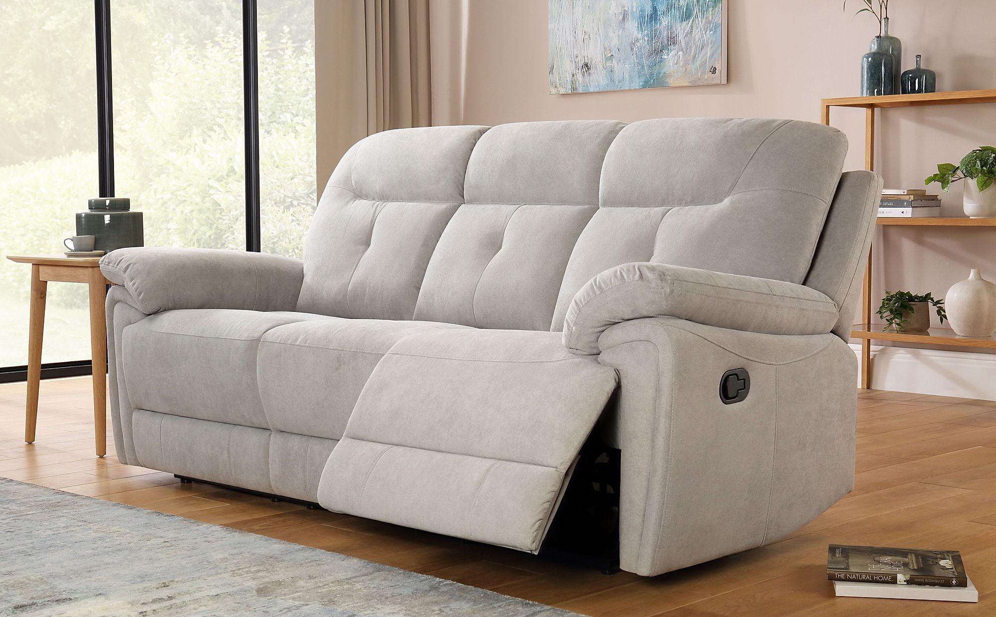 Ellington Dove Grey Plush Fabric 3 Seater Recliner Sofa ...