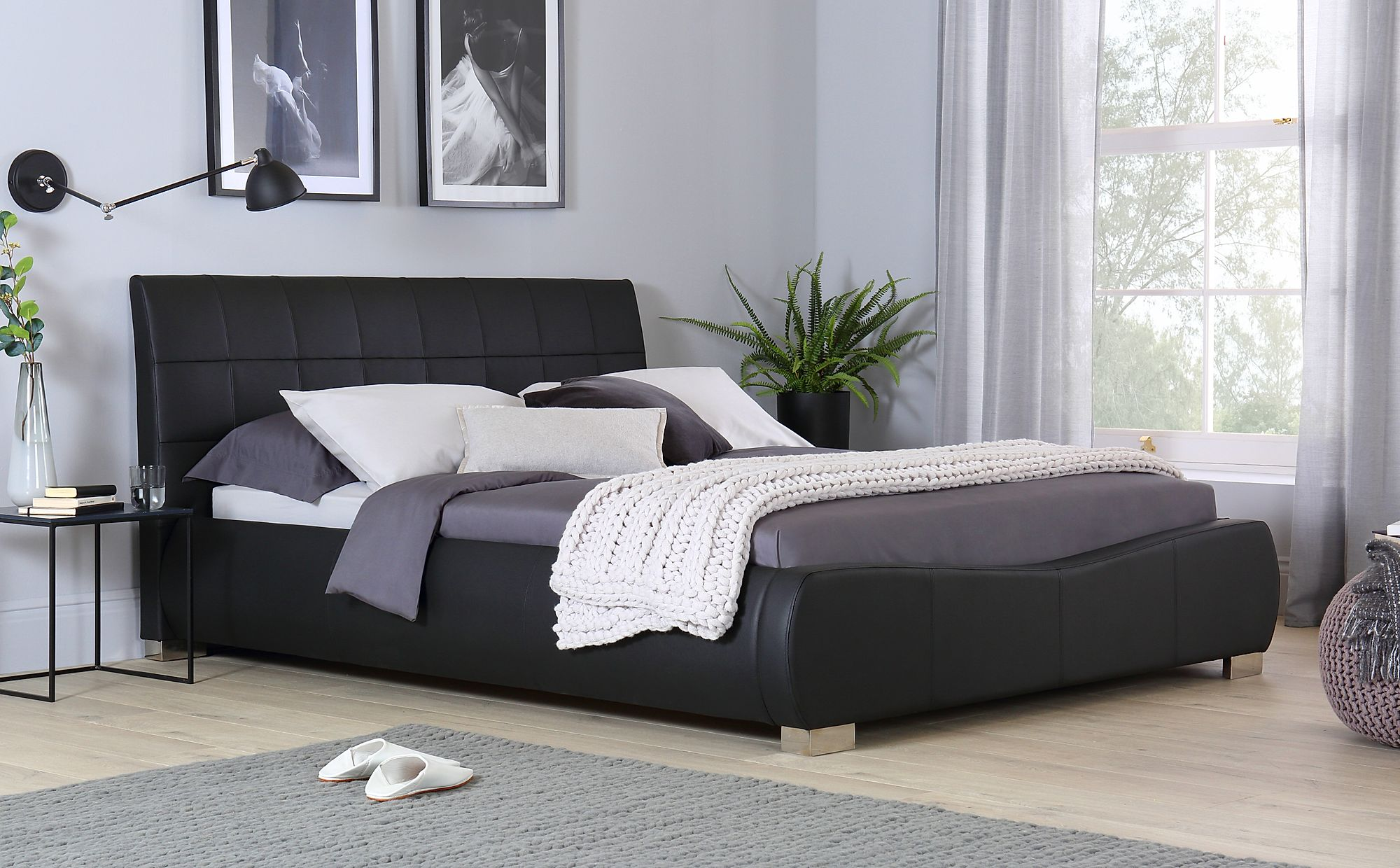 Dorado Black Leather King Size Bed Furniture Choice
