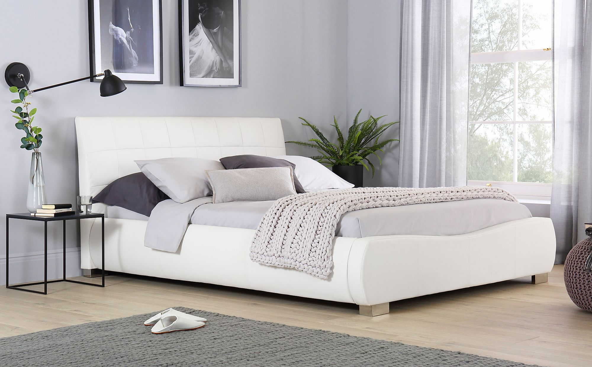 - Dorado White Leather Double Bed Furniture Choice
