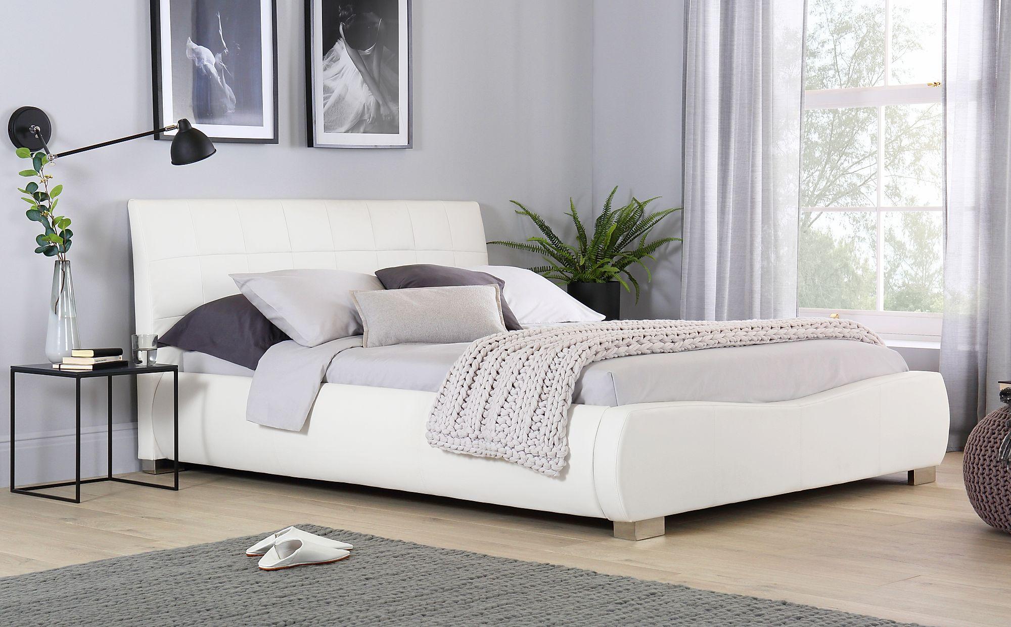 Dorado White Leather Super King Size Bed Furniture Choice