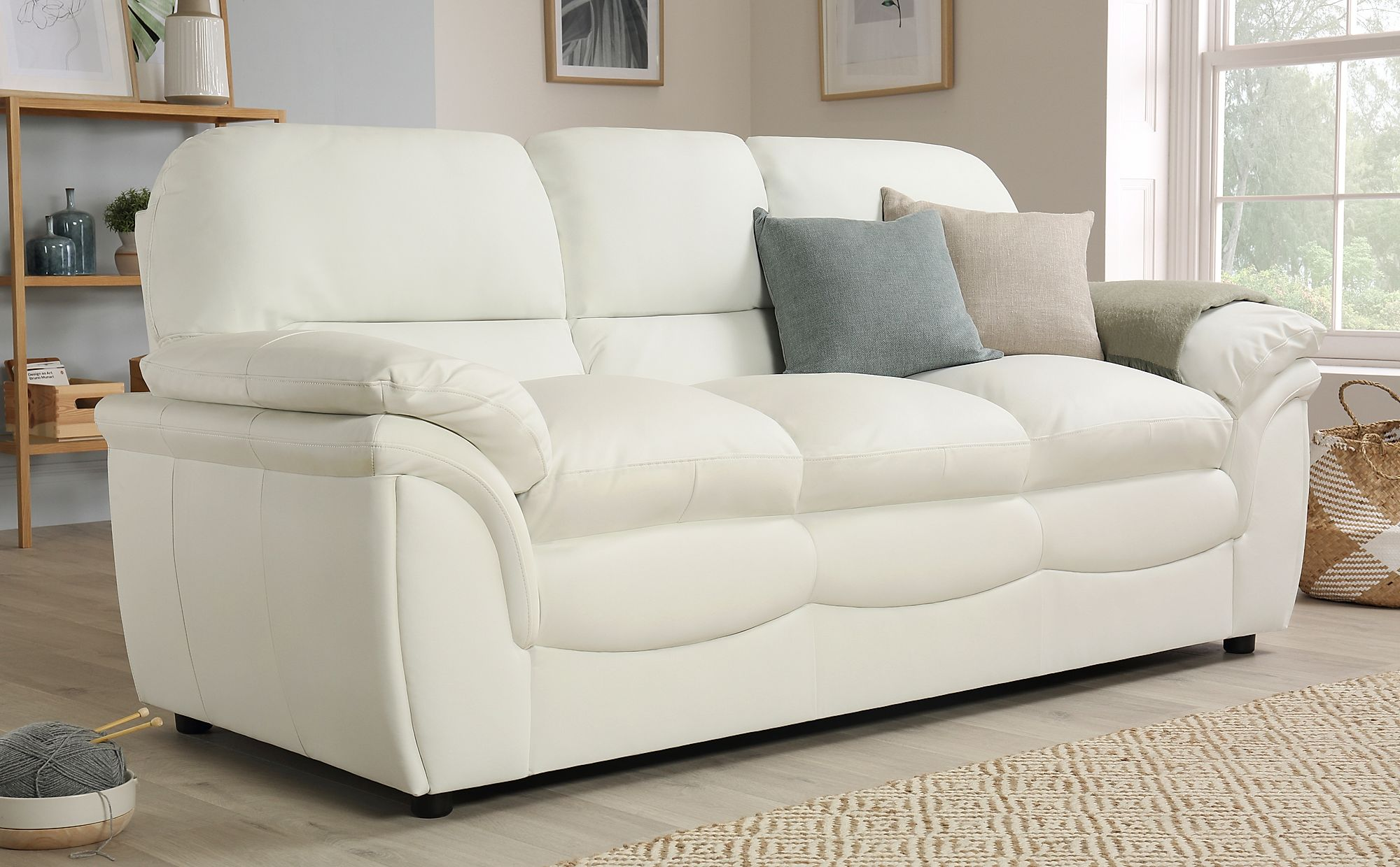 ROCHESTER Ivory Leather Sofa Sofas Group Settee Unit Range ...