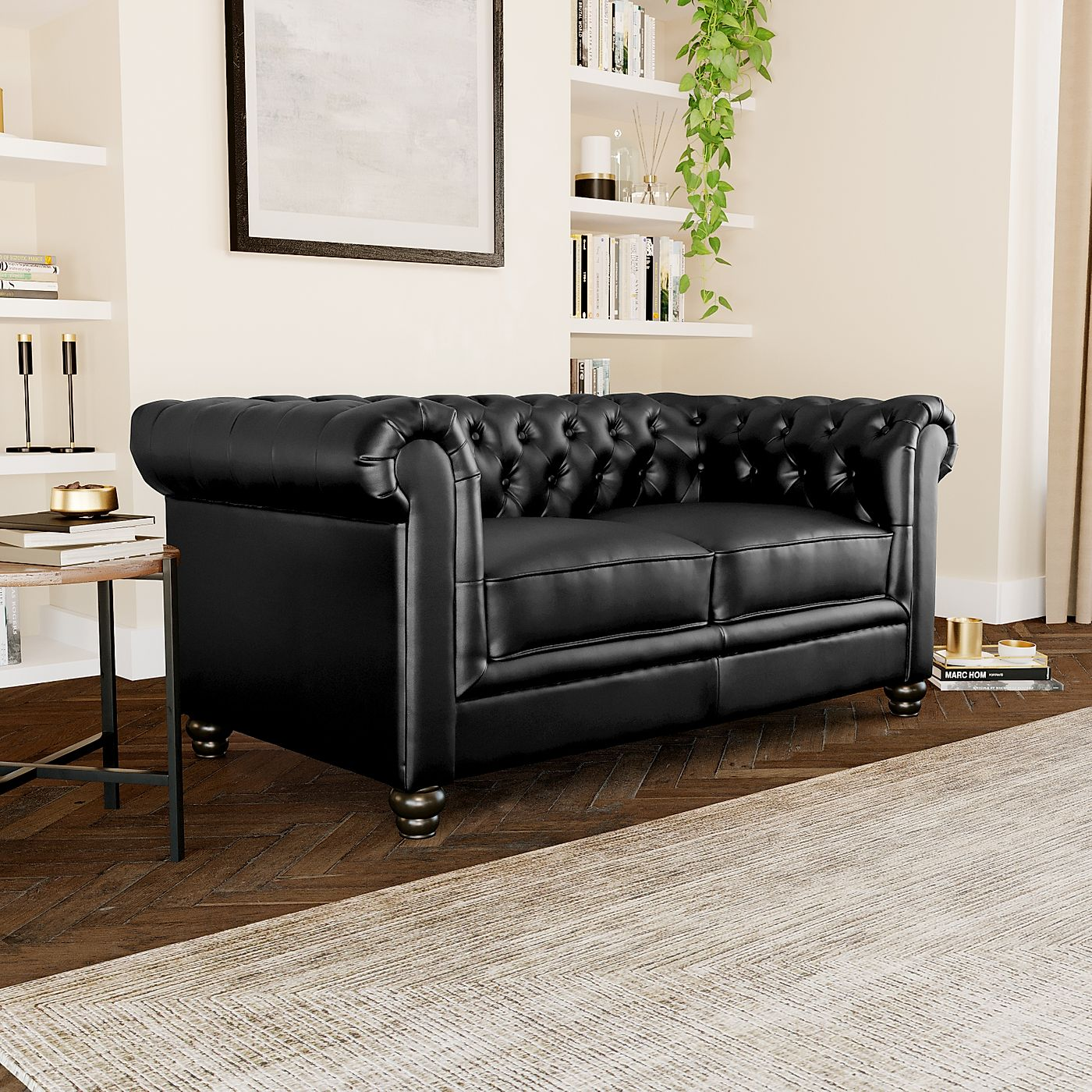 Superb Hampton Black Leather 2 Seater Chesterfield Sofa Pabps2019 Chair Design Images Pabps2019Com