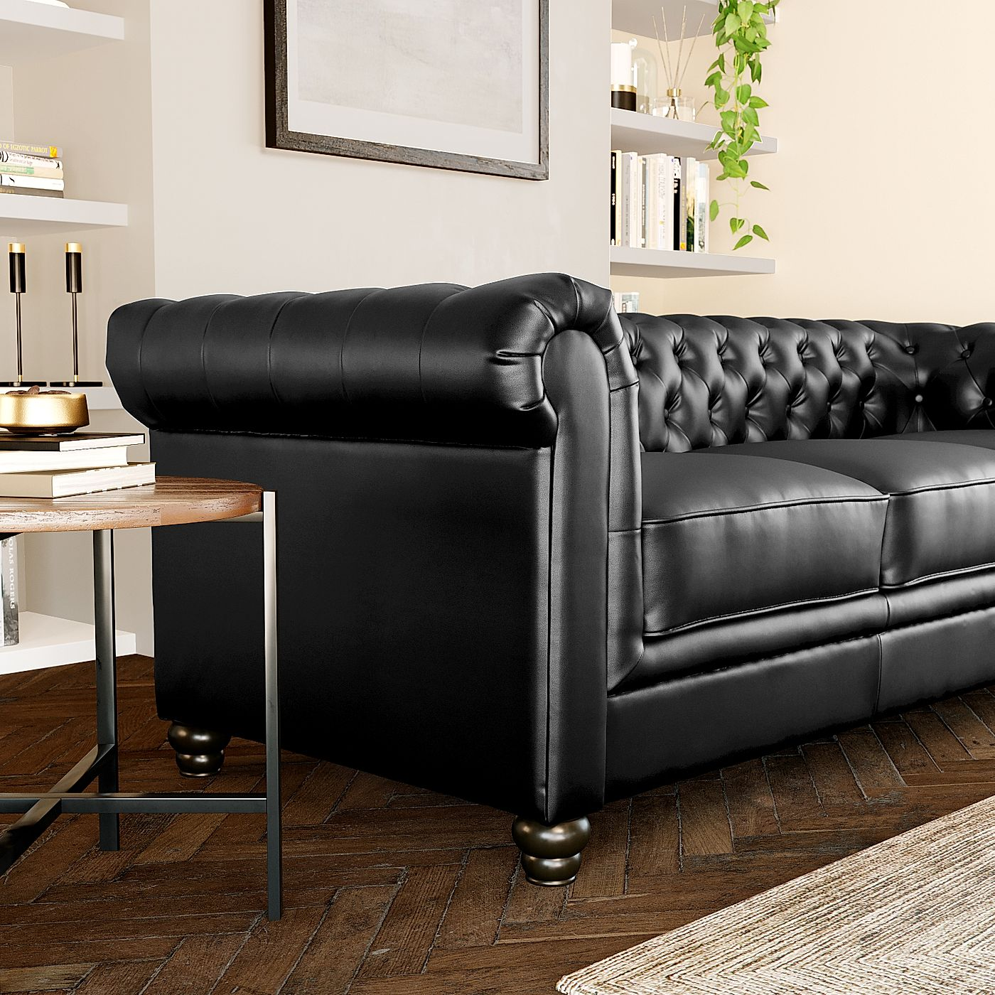 Moderne Chesterfield Banken : Hampton leather chesterfield sofa suite seater black only